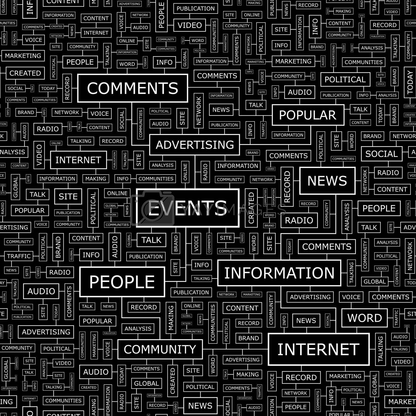EVENTS. Seamless pattern. Word cloud illustration.