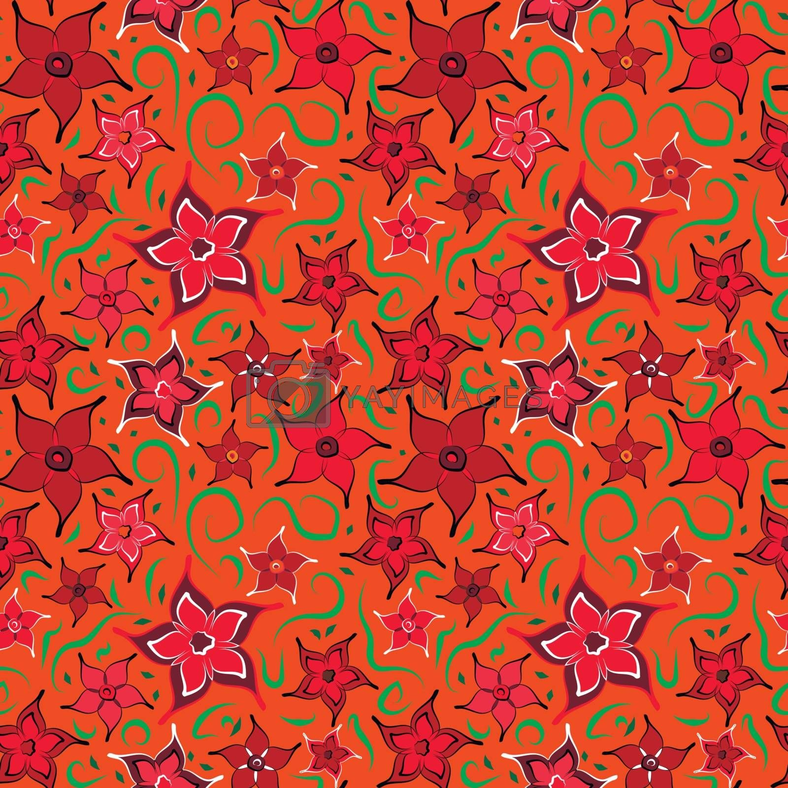 Simple bright flowers seamless pattern with floral elements