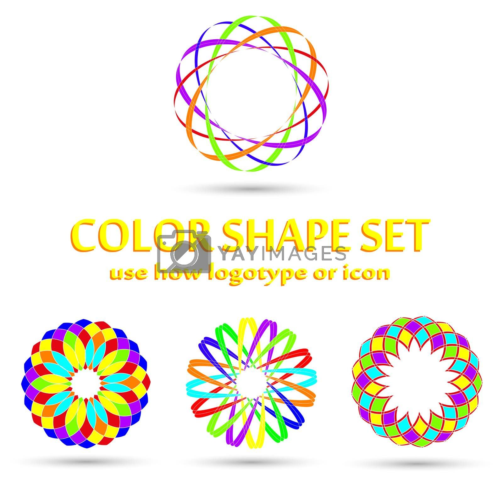 Round color shape logotype icon symbol set