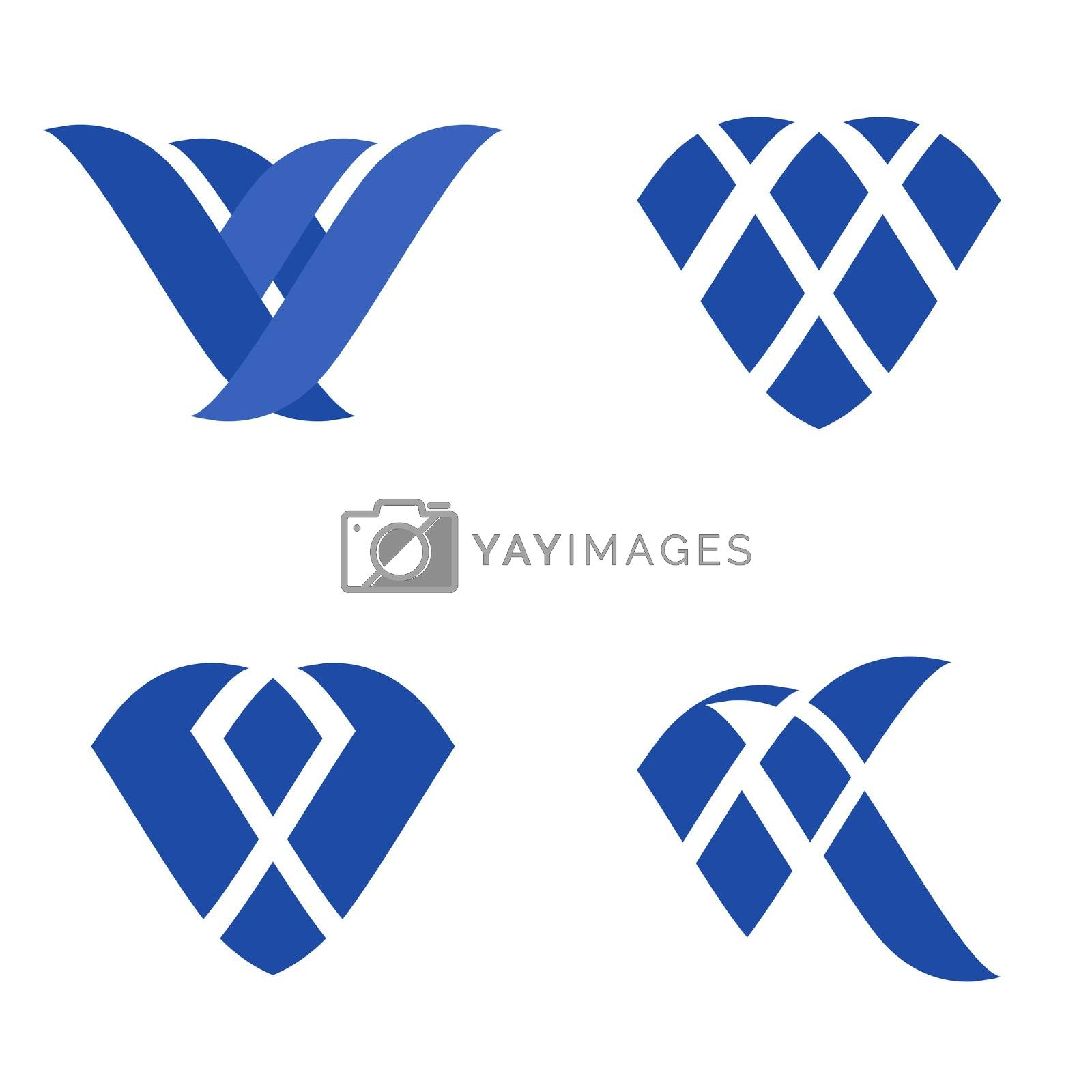 Abstract blue flat geometric logo template set