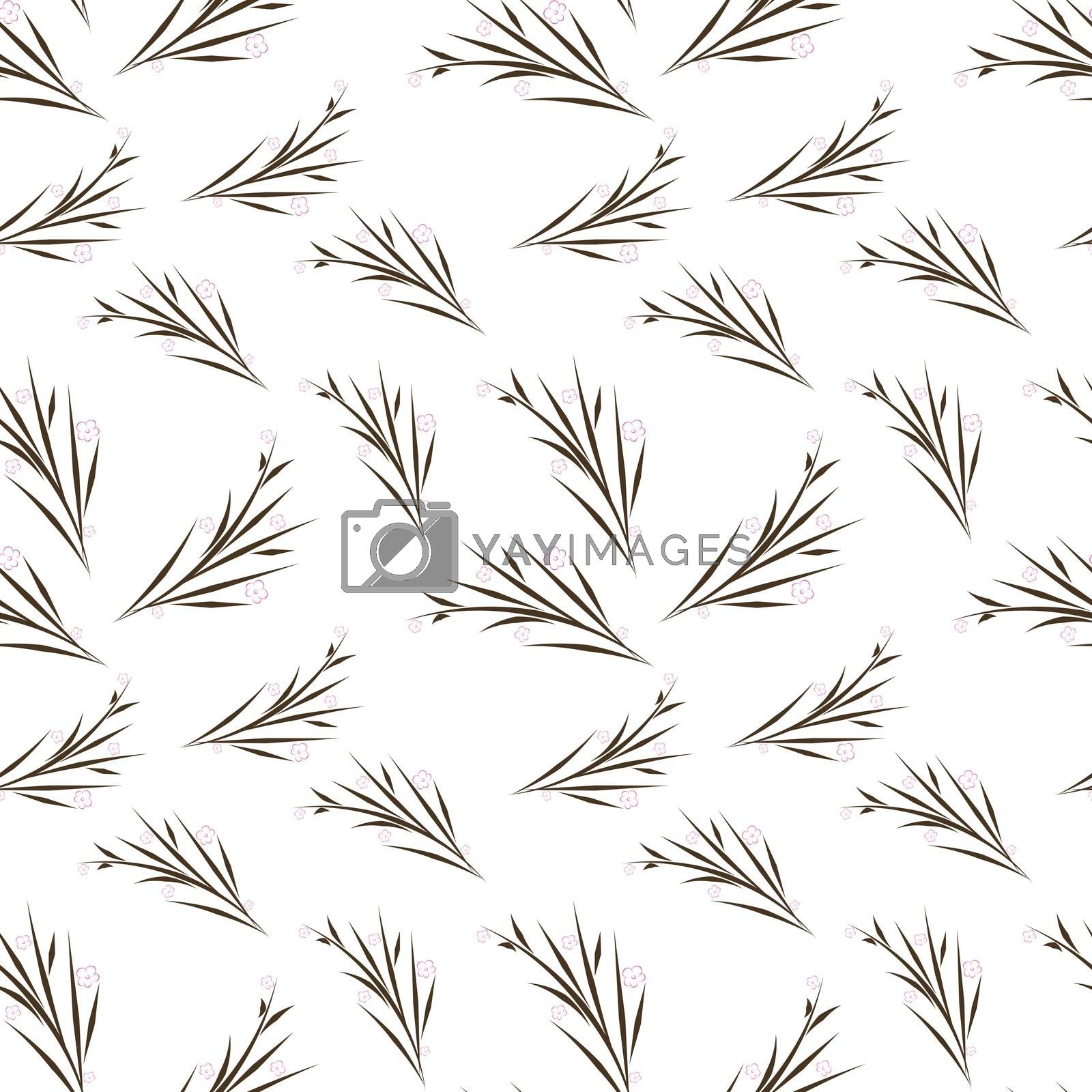 Sakura branch flower stylized white background simple seamless pattern