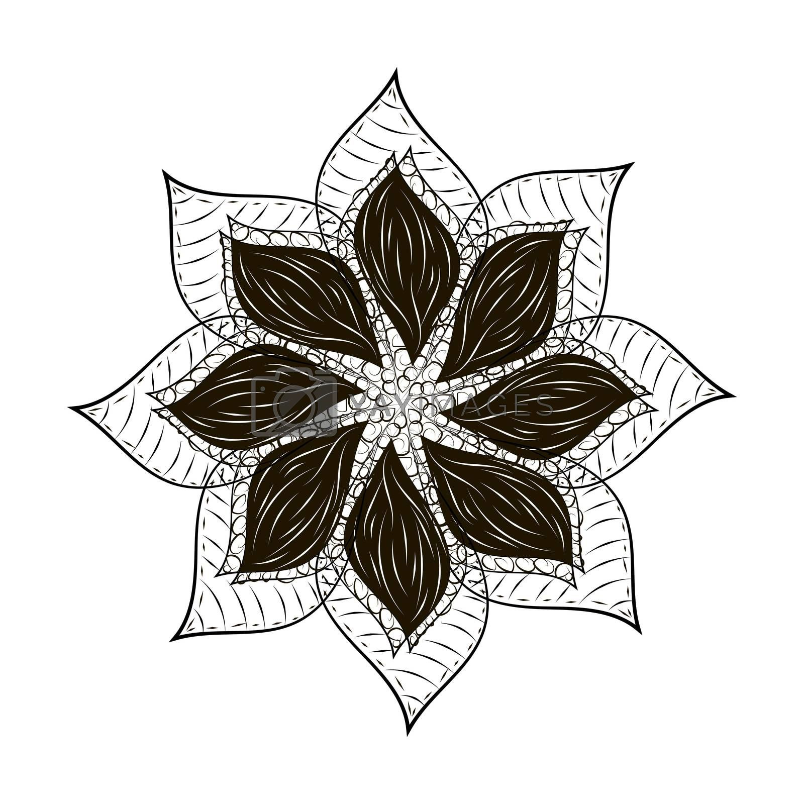 Dark black mandala flower hard tard abstract