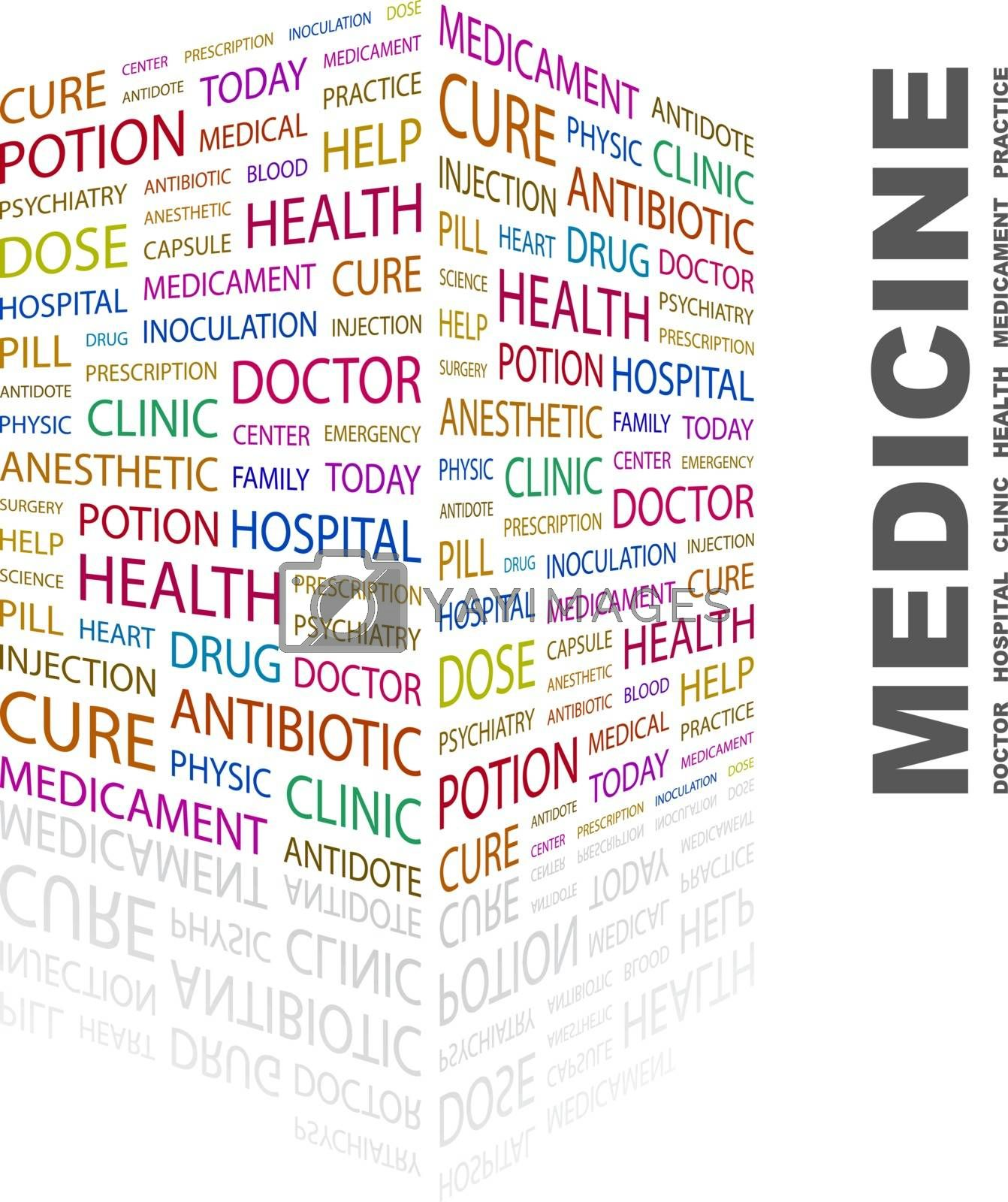 MEDICINE. Background concept wordcloud illustration. Print concept word cloud. Graphic collage.