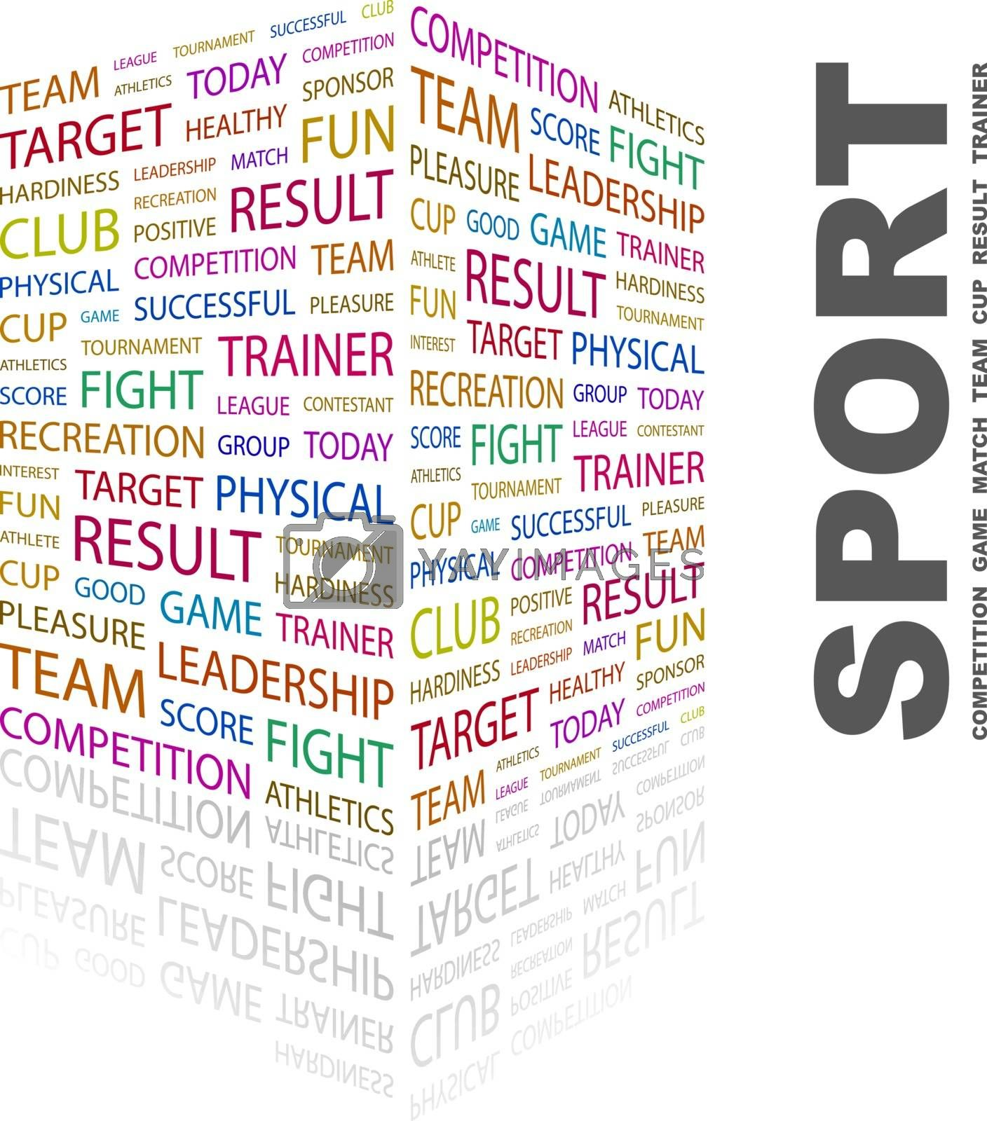 SPORT. Background concept wordcloud illustration. Print concept word cloud. Graphic collage.