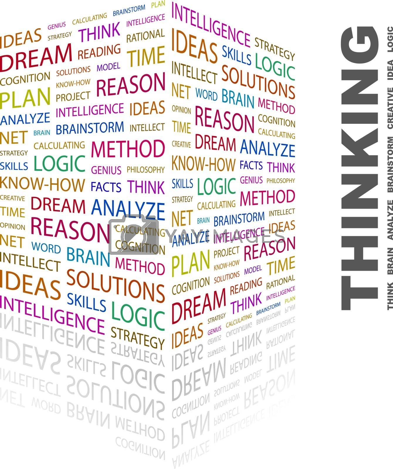 THINKING. Word cloud concept illustration. Wordcloud collage.