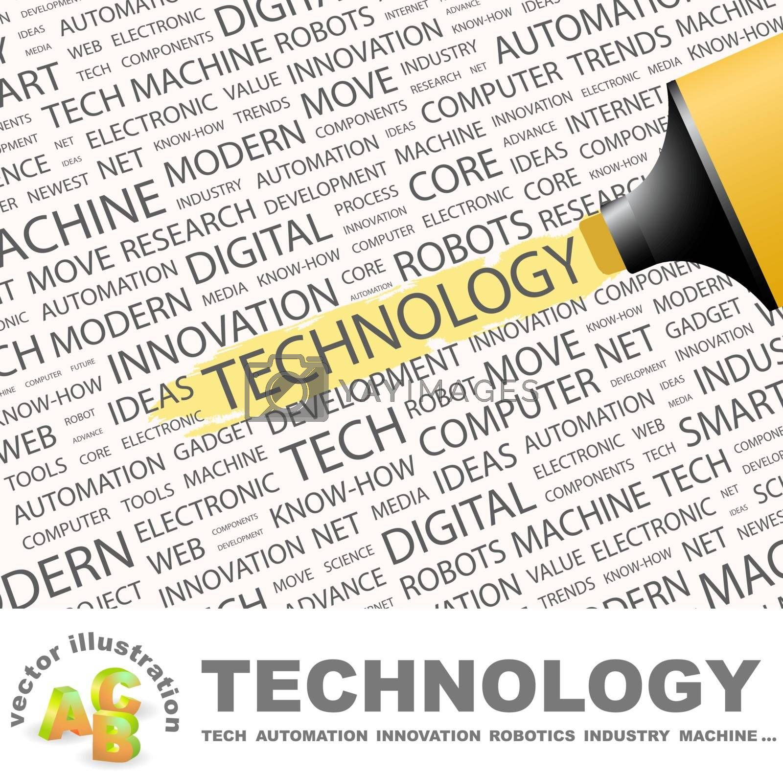 TECHNOLOGY. Concept illustration. Graphic tag collection. Wordcloud collage.