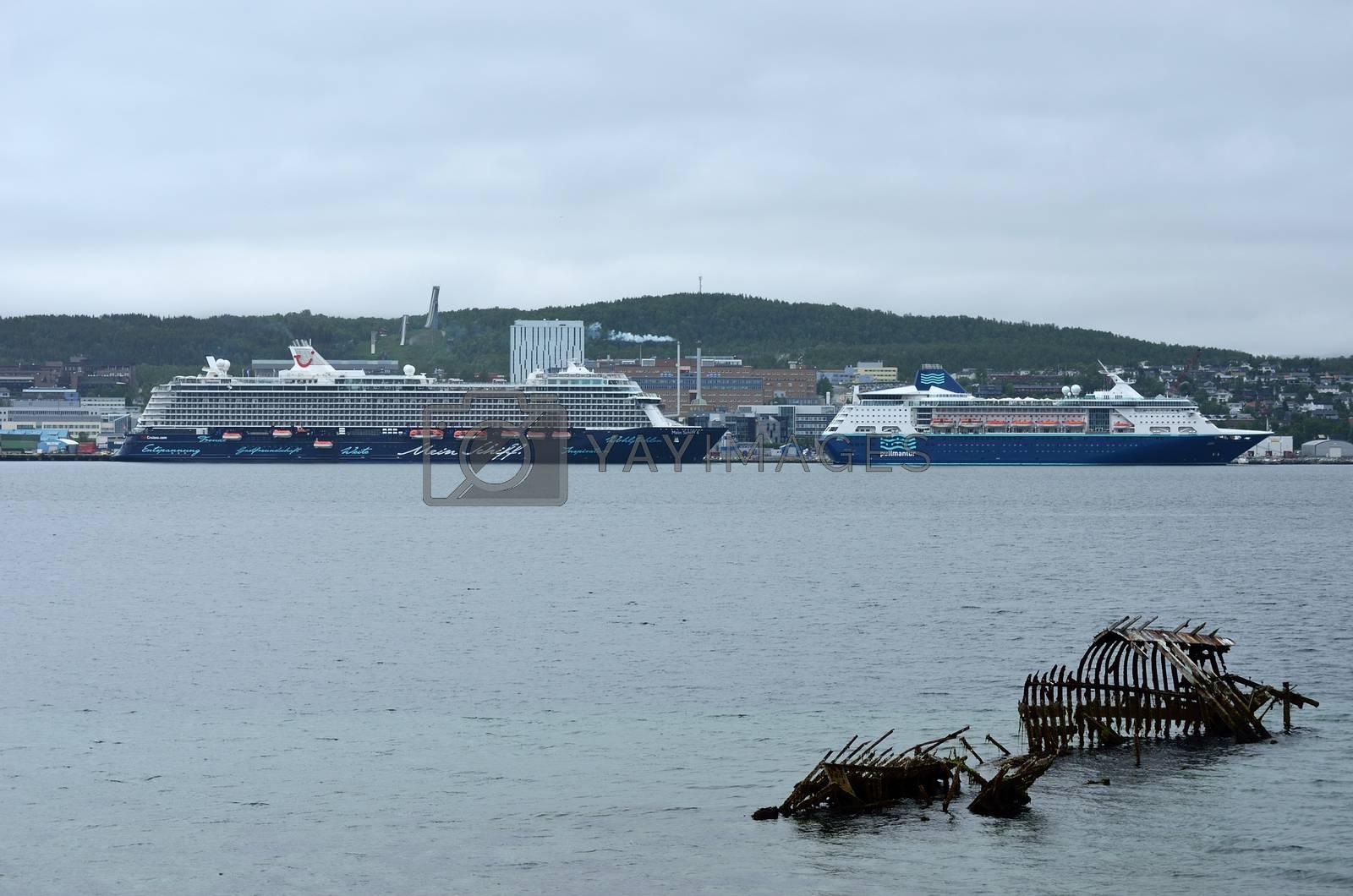 cruise ships tromsoe city harbour, june 2015
