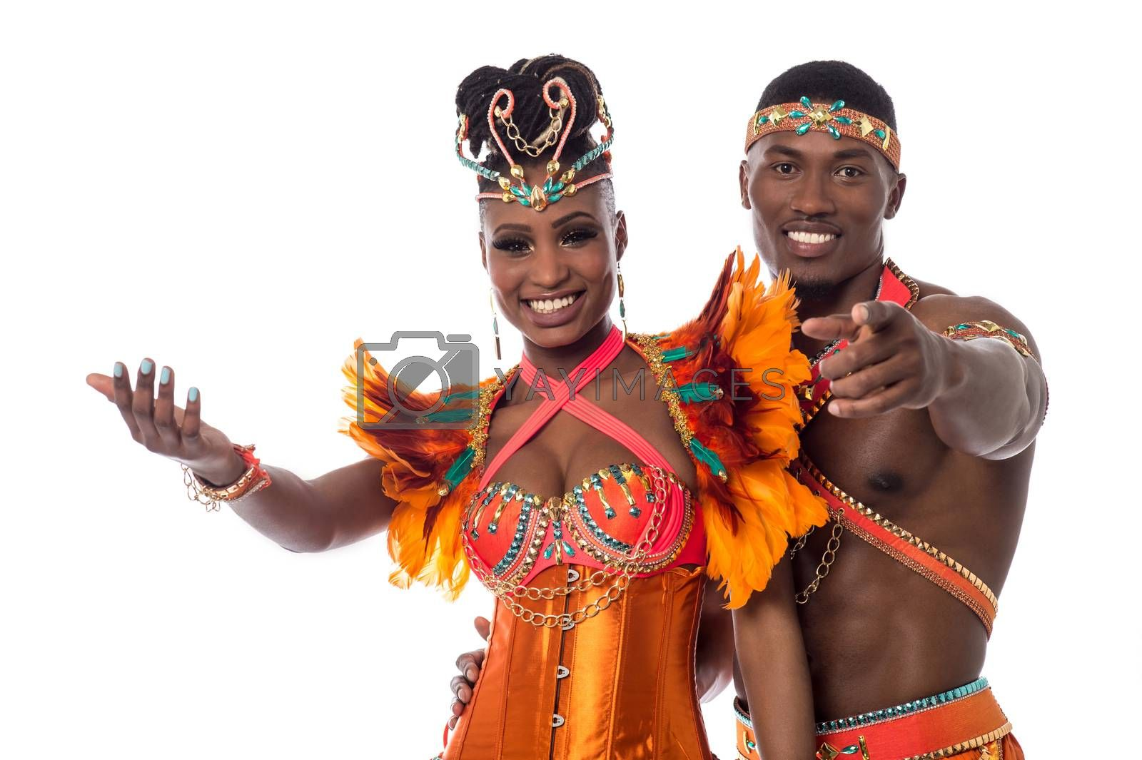 Happy samba dancers posing together on white background