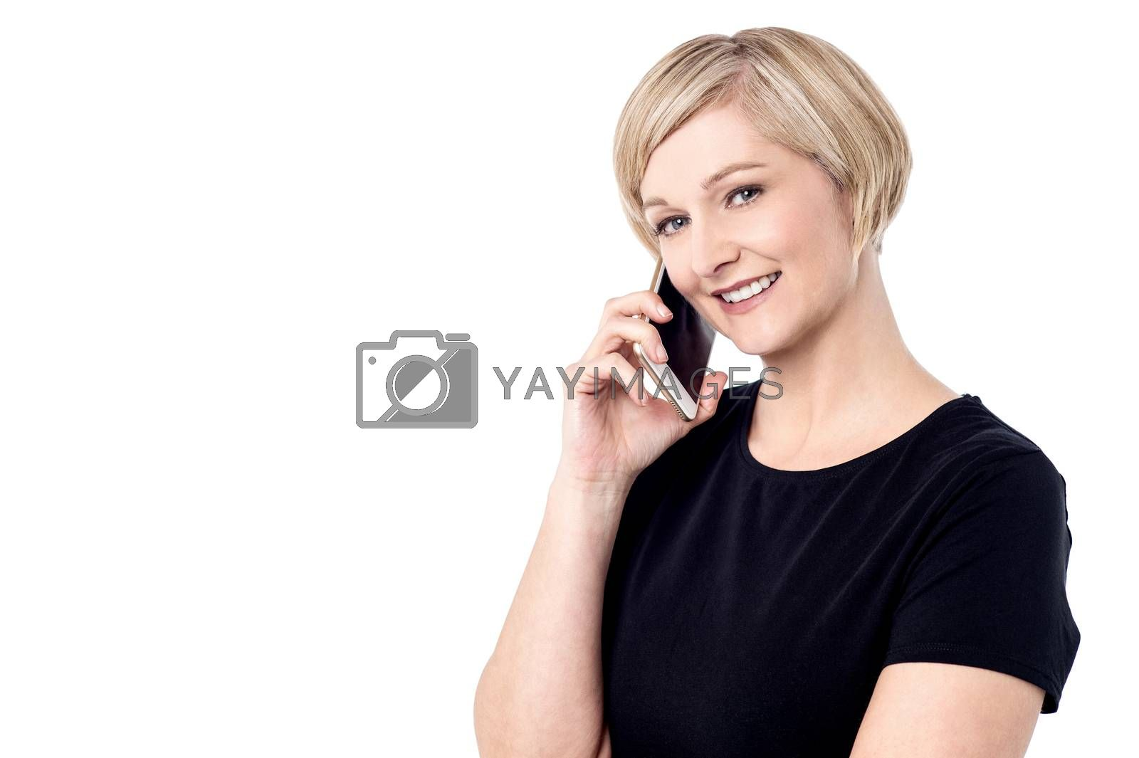 Middle aged woman talking on mobile phone
