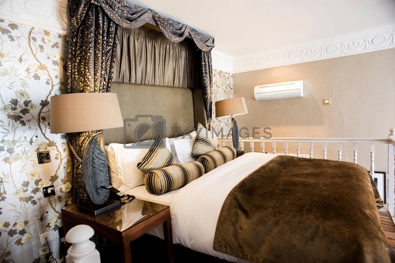 Master luxurious bedroom in elegant home