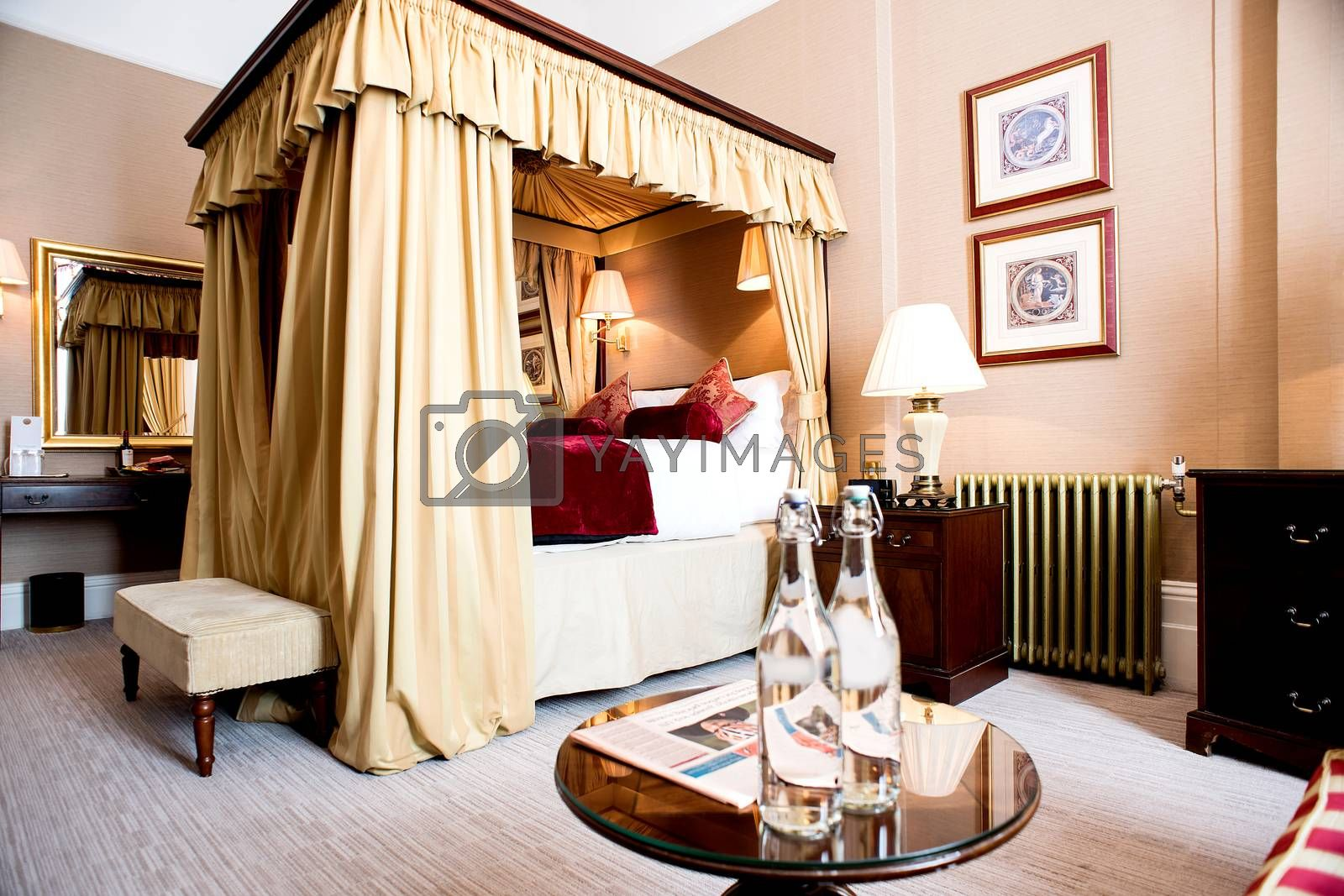 Interior of a classic style bedroom in hotel