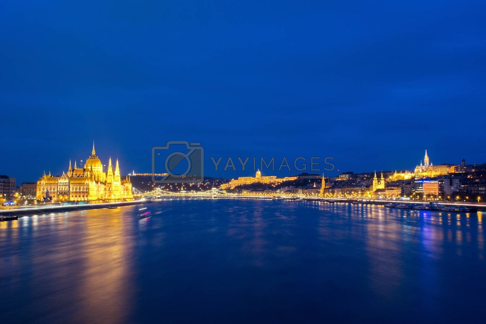 Panoramic view of Budapest at night in Hungary