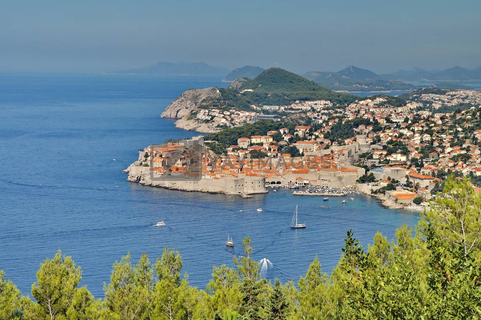 City of Dubrovnik in Croatia from above