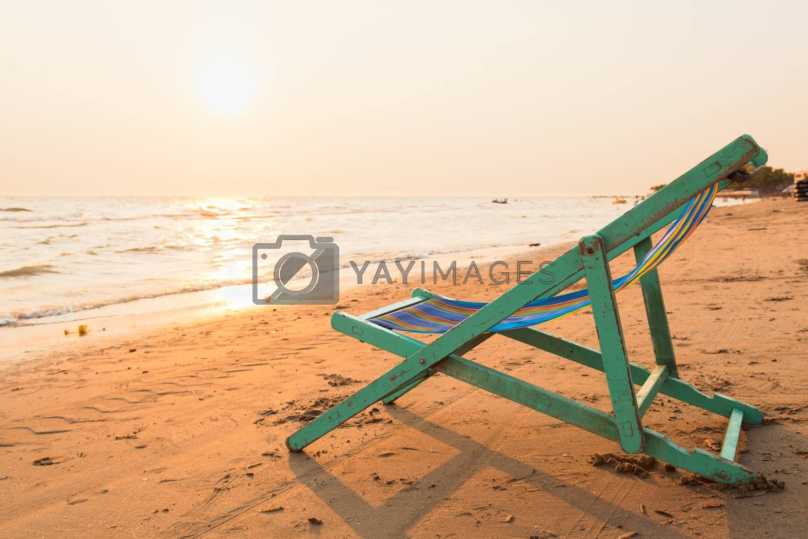 Crib on the beach. The seaside During evening sunset.