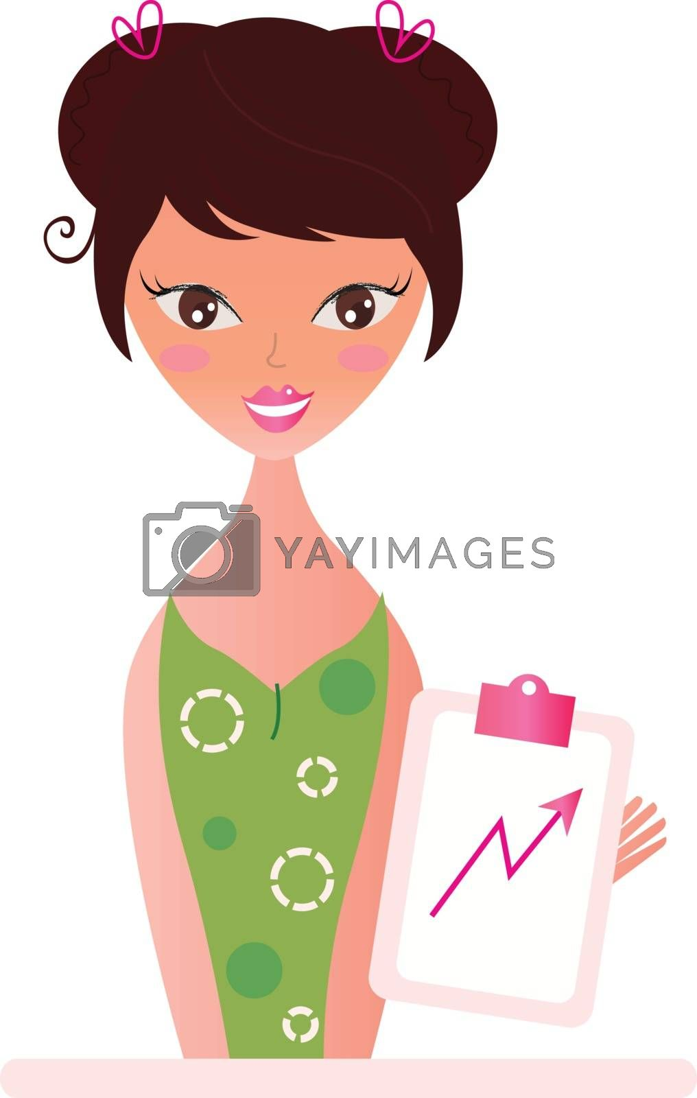 Beautiful woman with pink Chart growing up. Vector illustration