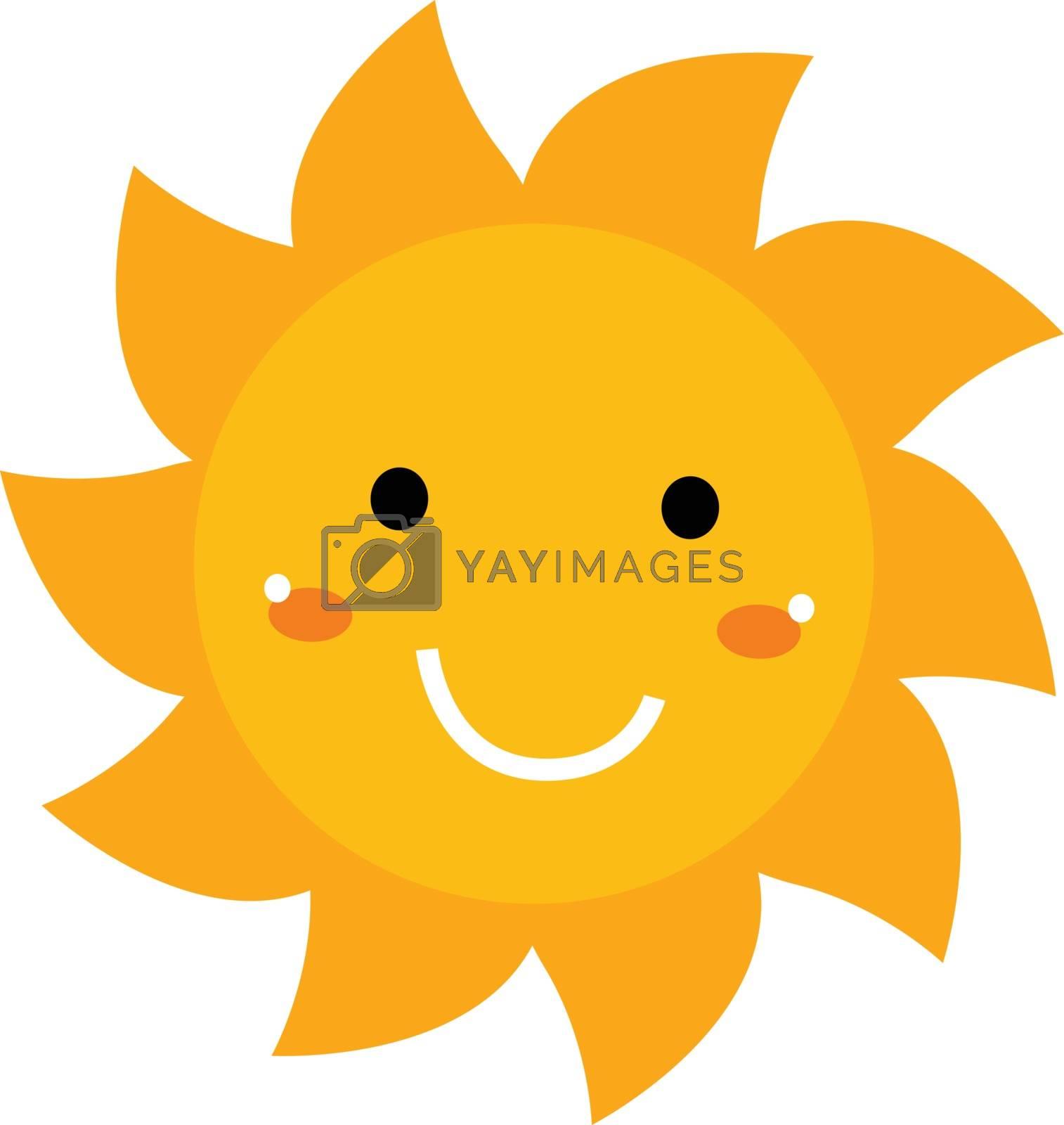 Beautiful yellow smiling cartoon Sun isolated on white