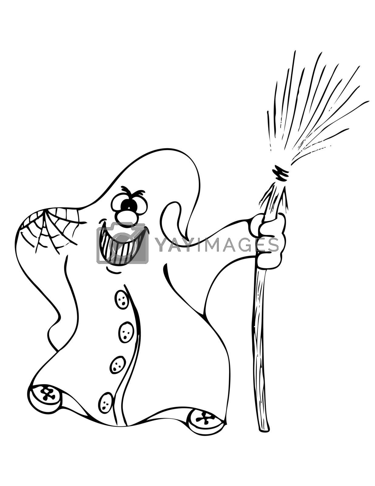 big smile ghost with broom  for coloring