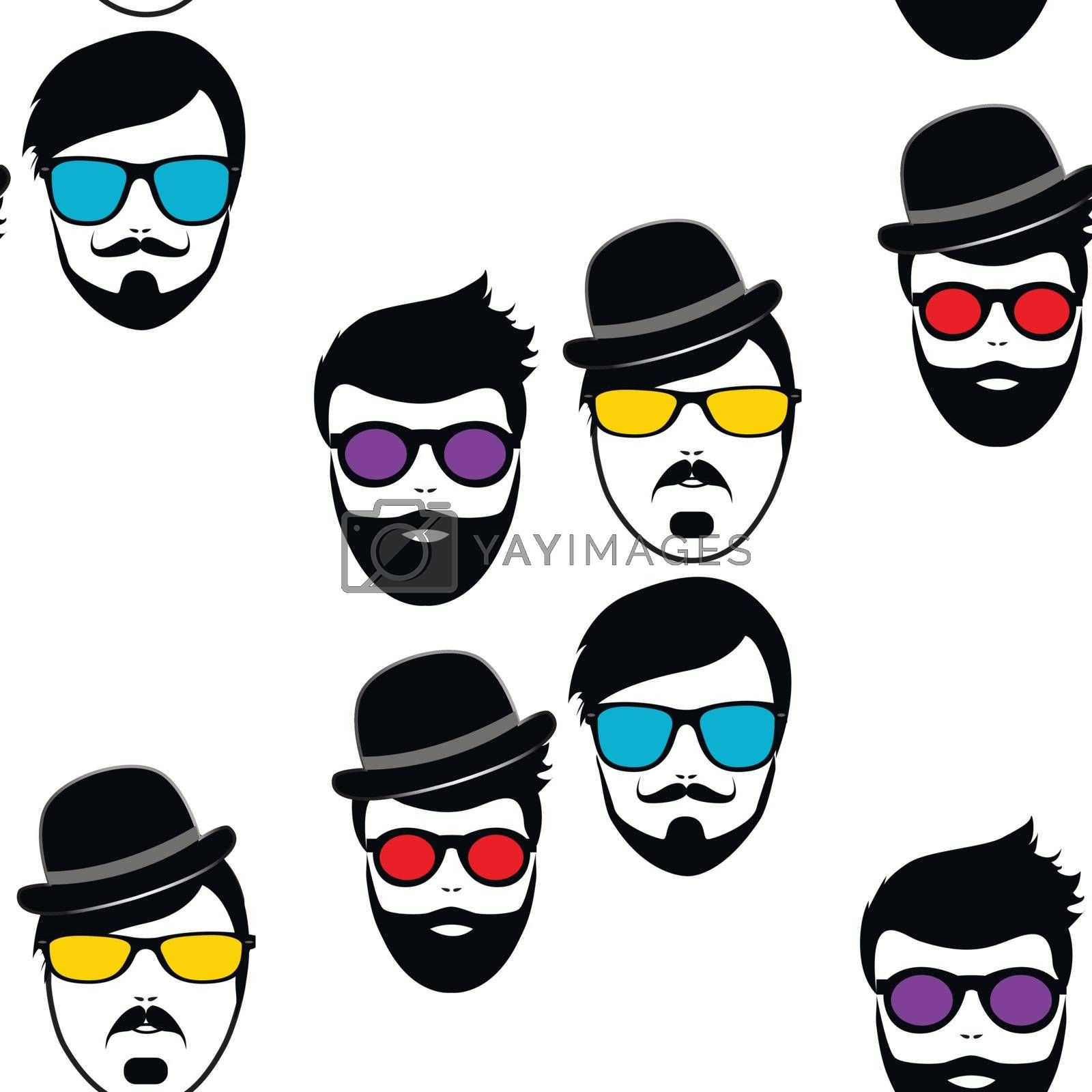 Fashion style hipsters silhouette in seamless. Vector illustration