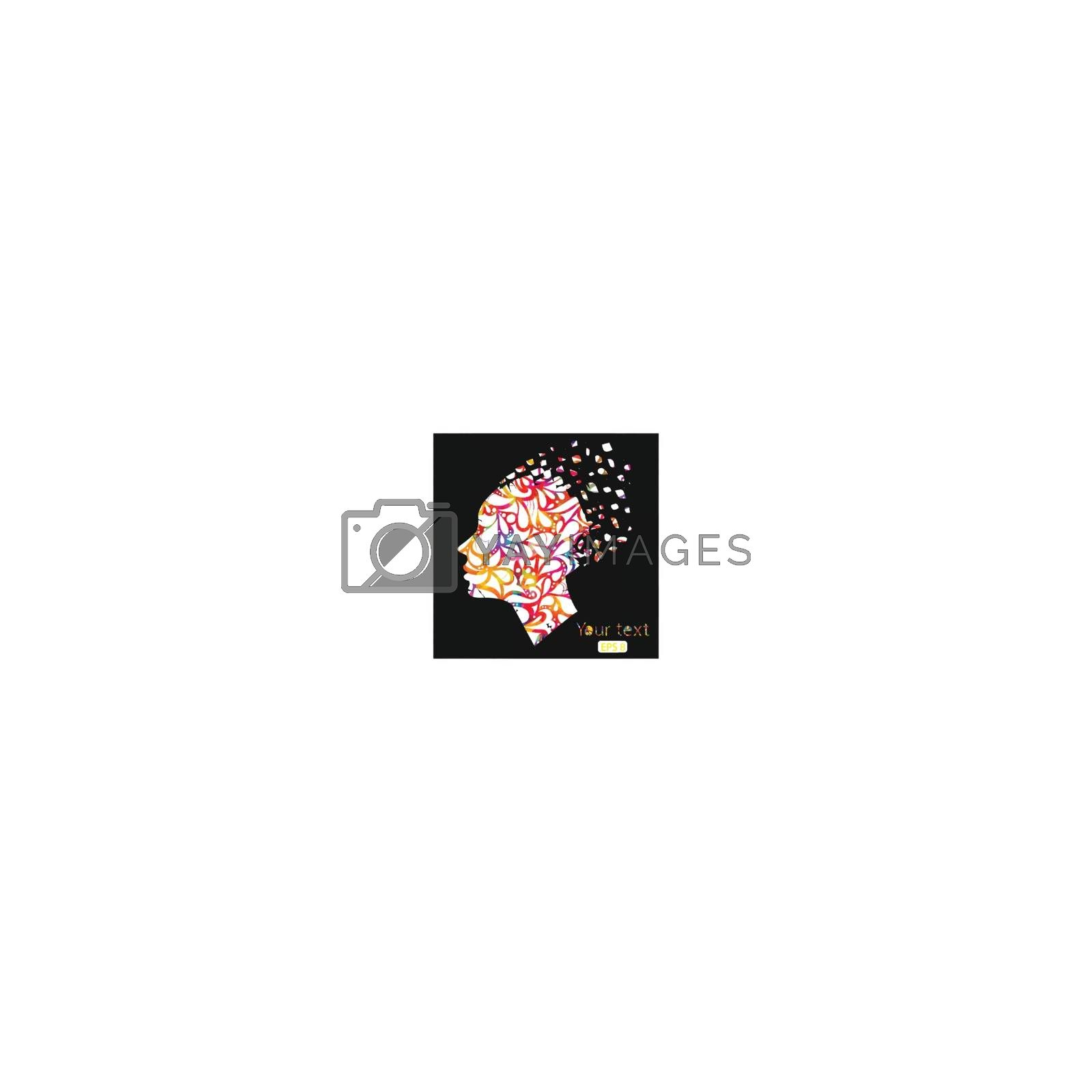 Beautiful fashion women with floral abstract elements. Vector