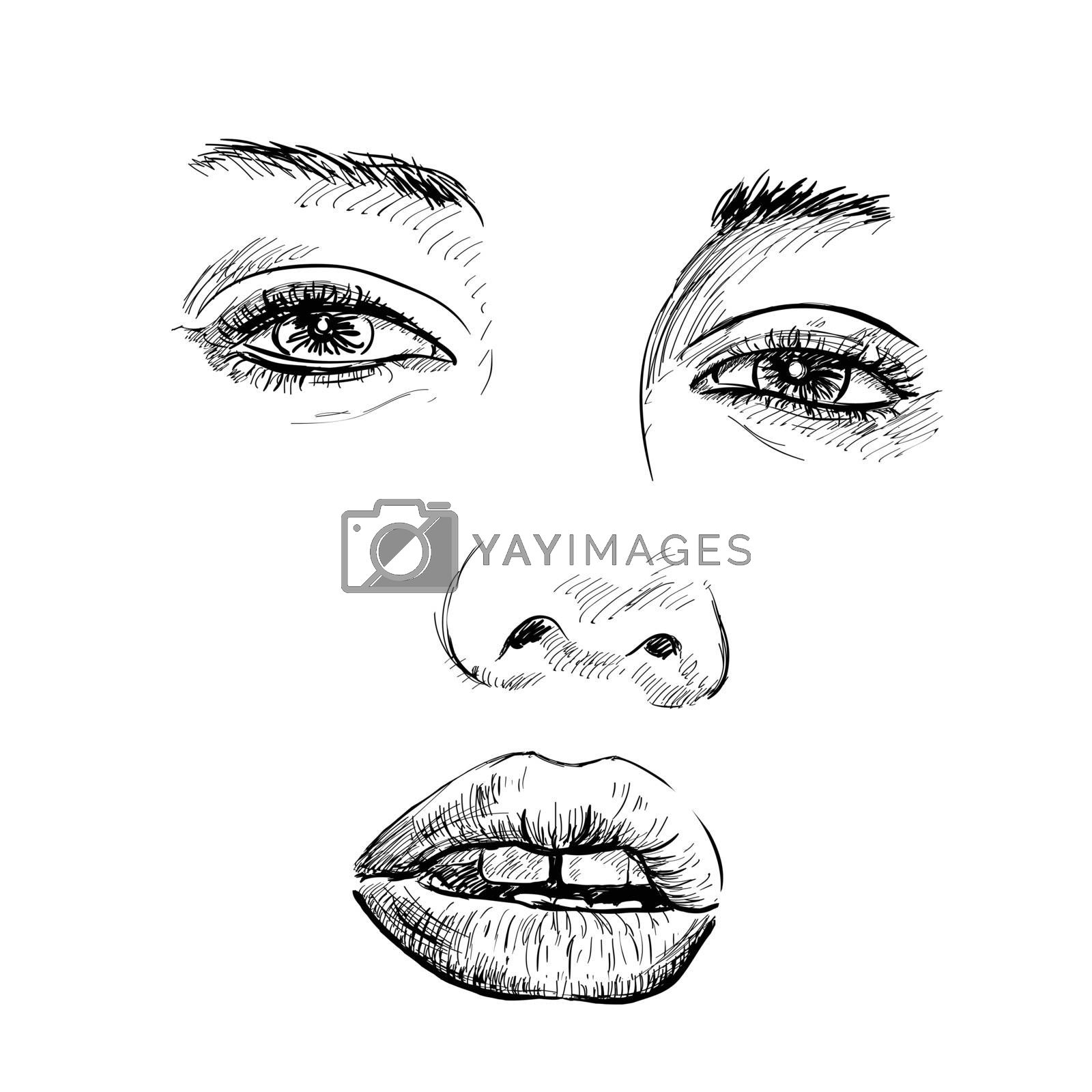 Hand-drawn fashion model portrait. Vector illustration. EPS