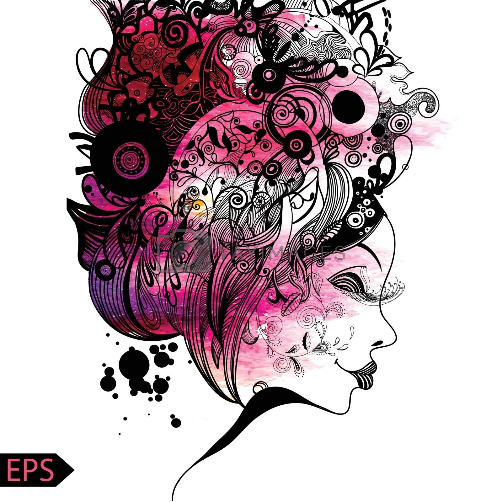 Beautiful fashion women with abstract and floral elements. EPS illustration.