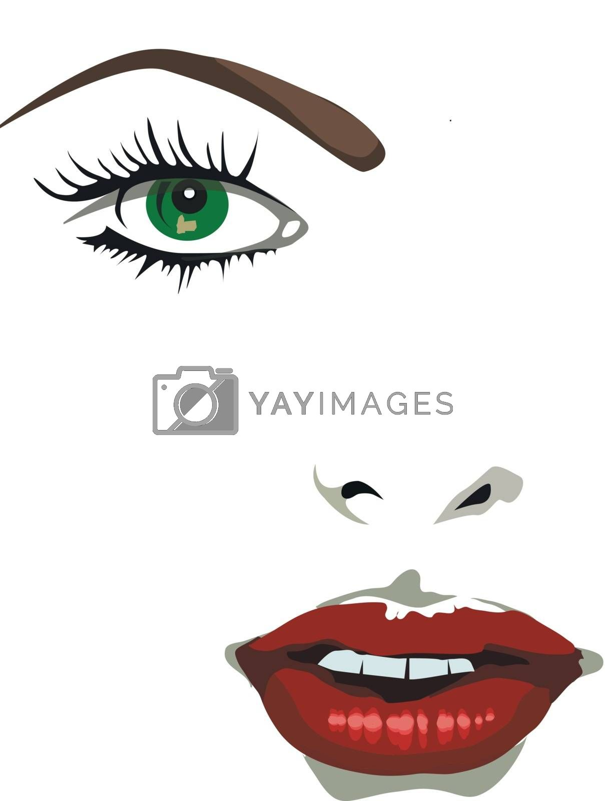 Fashion girl with make-up. Vector illustration
