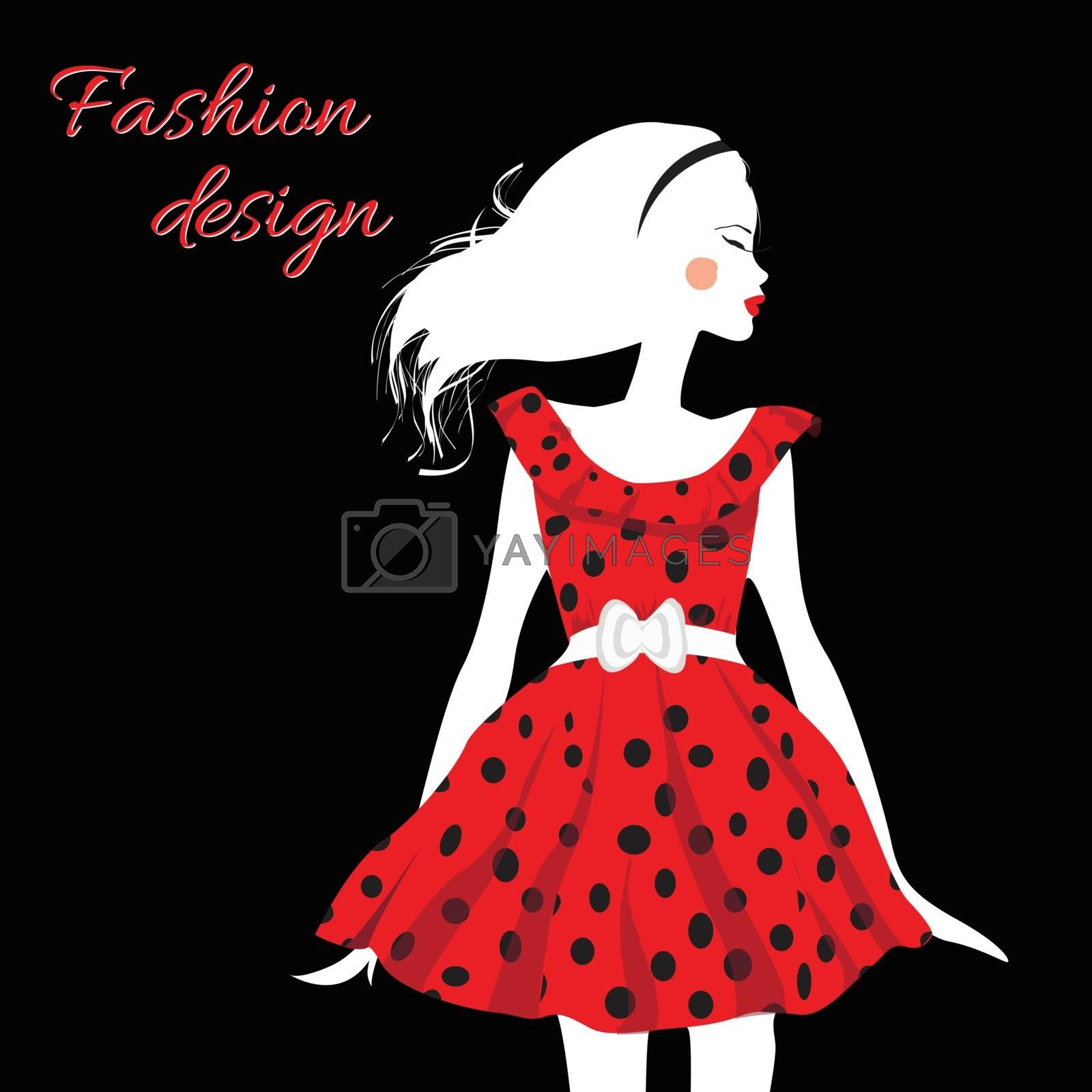 Sexy fashion girl in silhouette style on white background.  Vector EPS