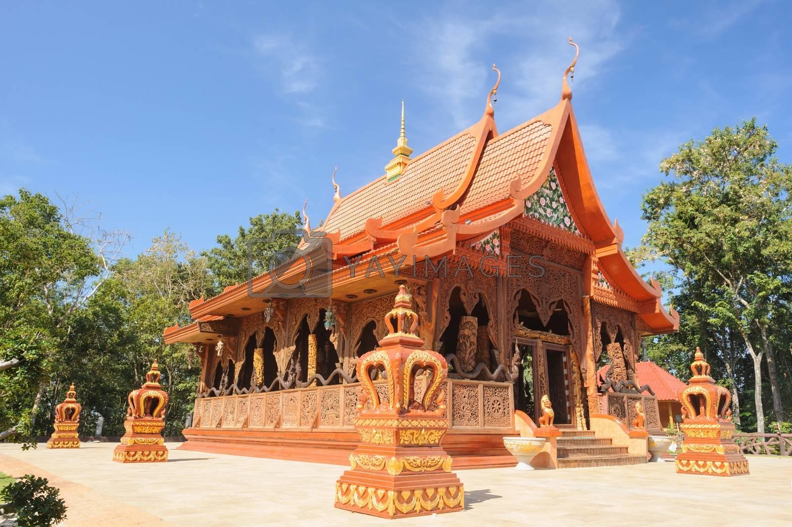Beautiful temple is teak wood sanctuary in Chanthaburi, Thailand.