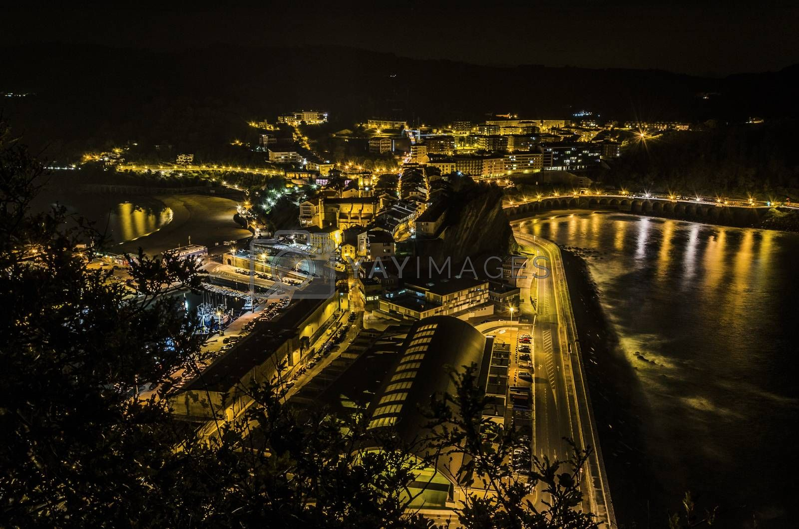 Beautiful night cityscape over the Getaria city in Spain