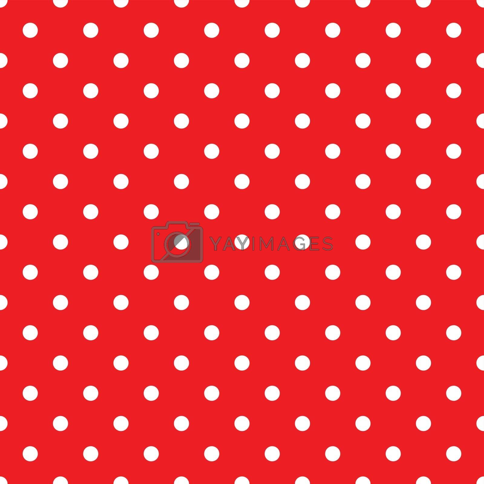 White Polka Dots on Red Background Seamless Pattern Tile
