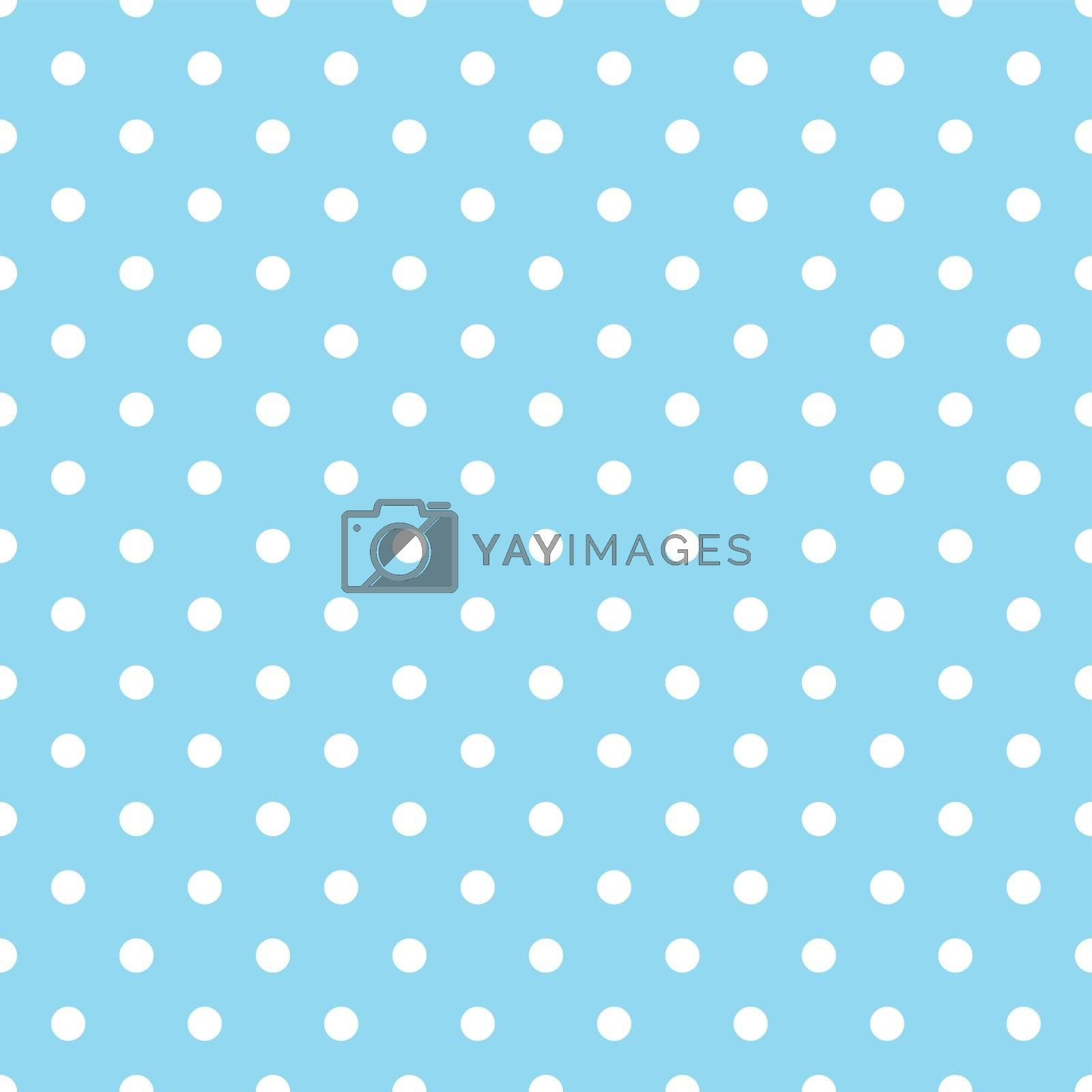White Polka Dots on Blue Background Seamless Pattern Tile