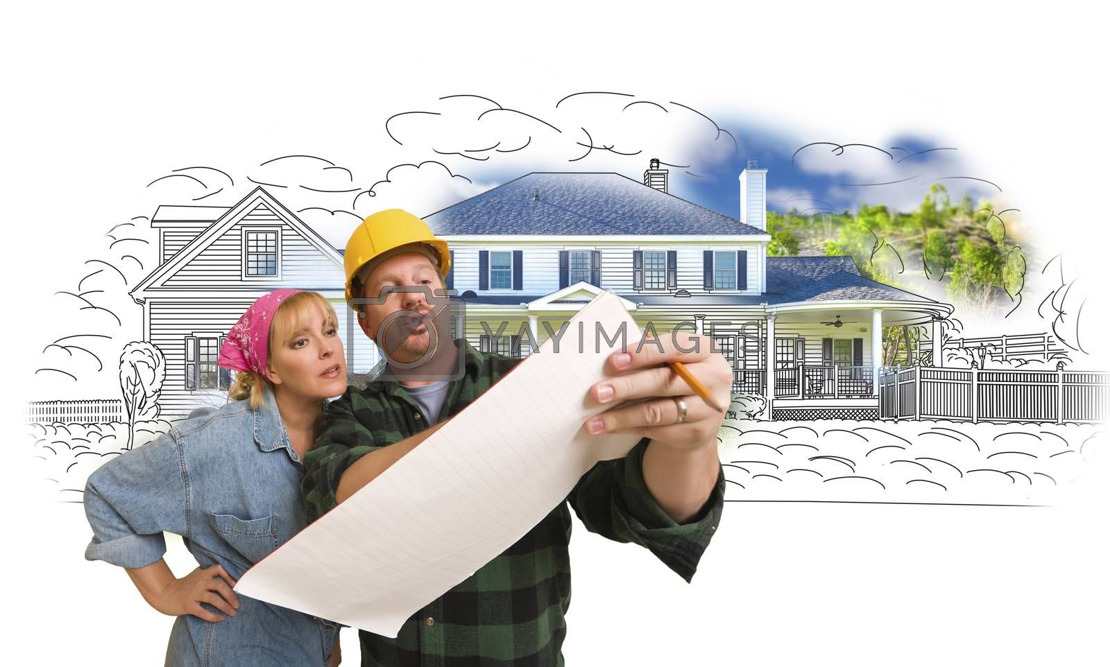 Woman with Contractor Over House Drawing and Photo on White by Feverpitched