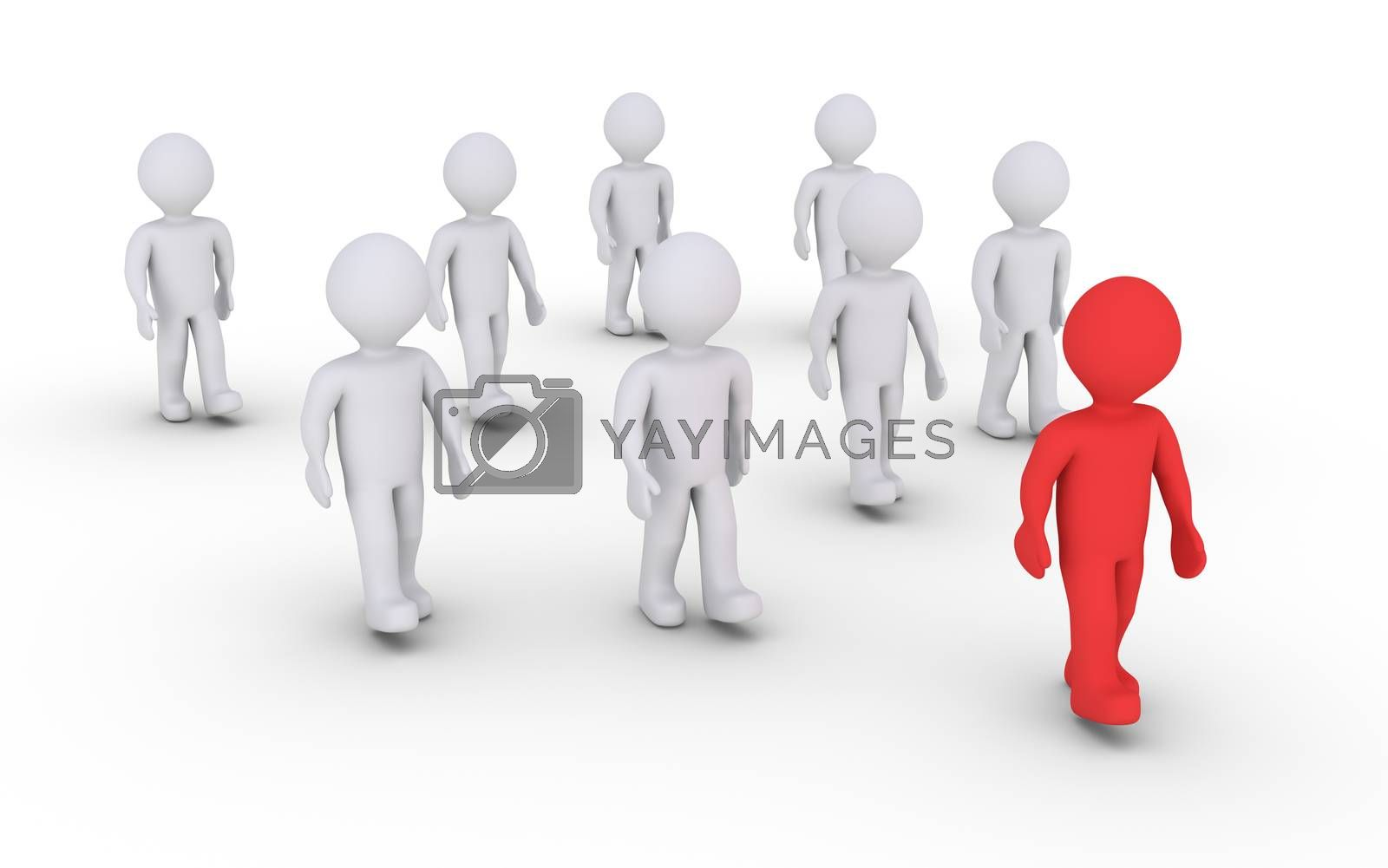 A group of people are walking and in front is the leader