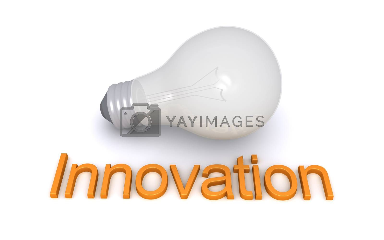 Light bulb is on the ground and in front of it is an Innovation word