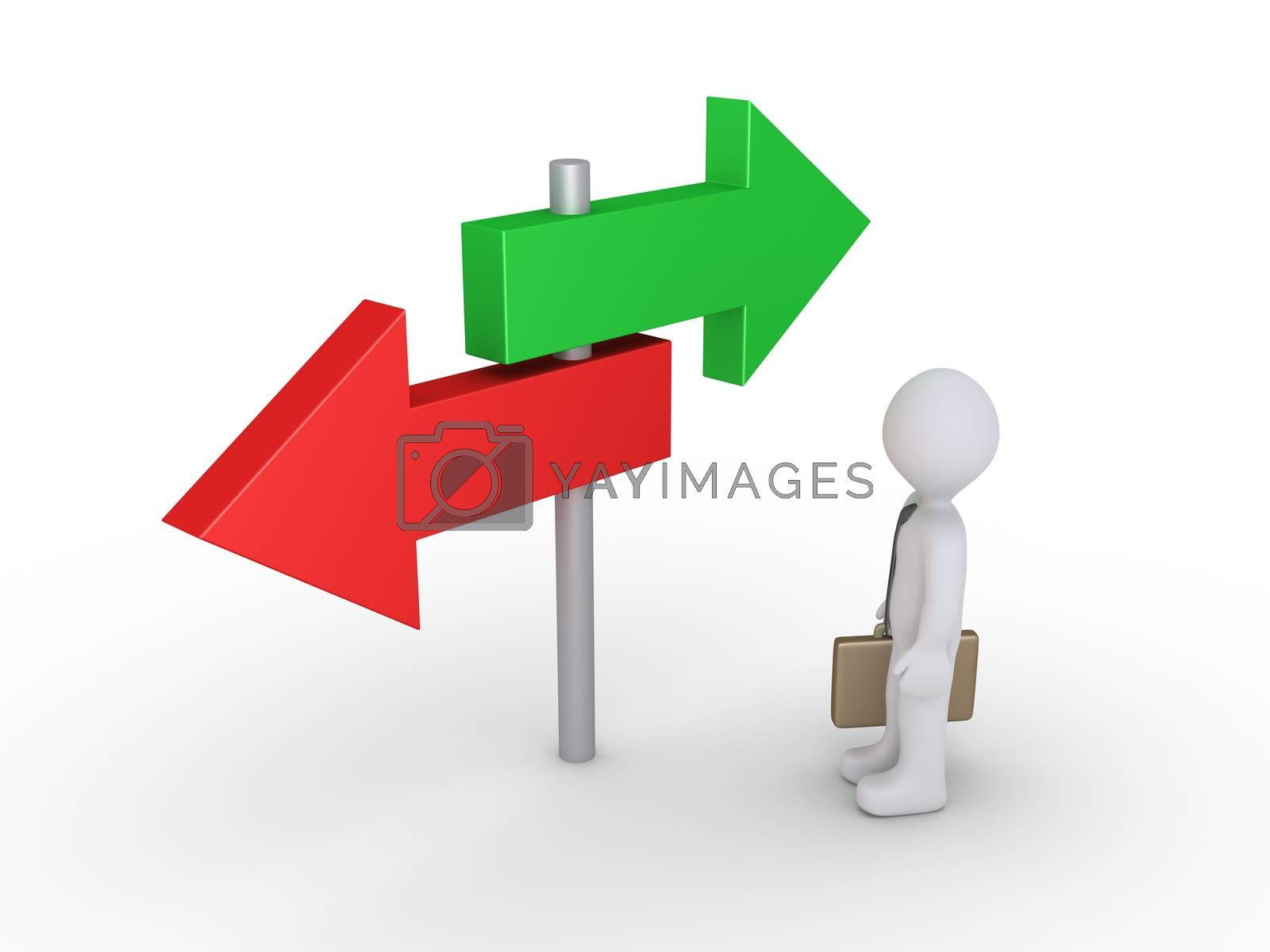 Businessman is looking at two signs pointing at different directions