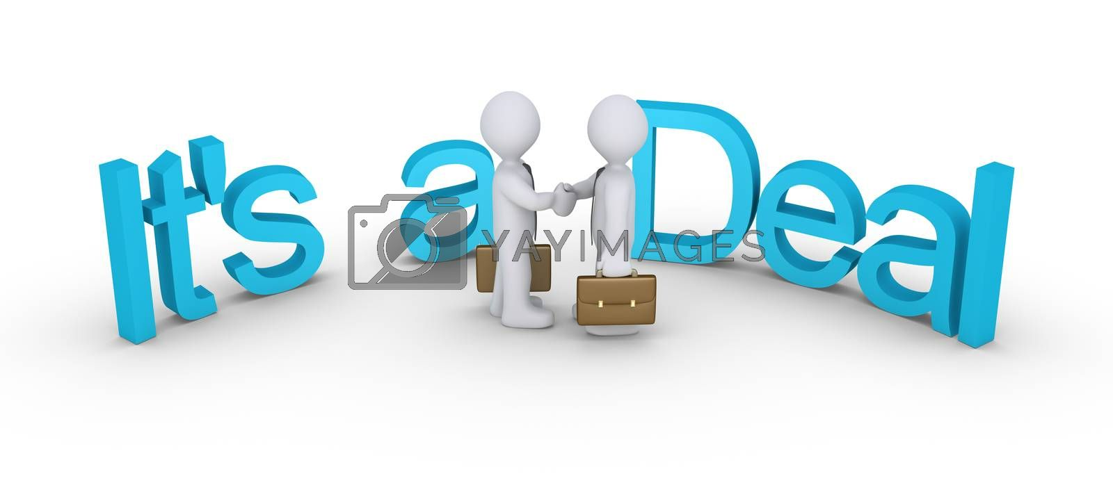 Businessmen shake hands in the middle of the surrounding words, It is a Deal