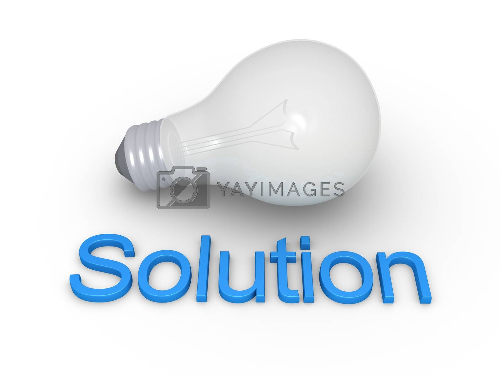 Light bulb is on the ground and in front of it is a Solution word