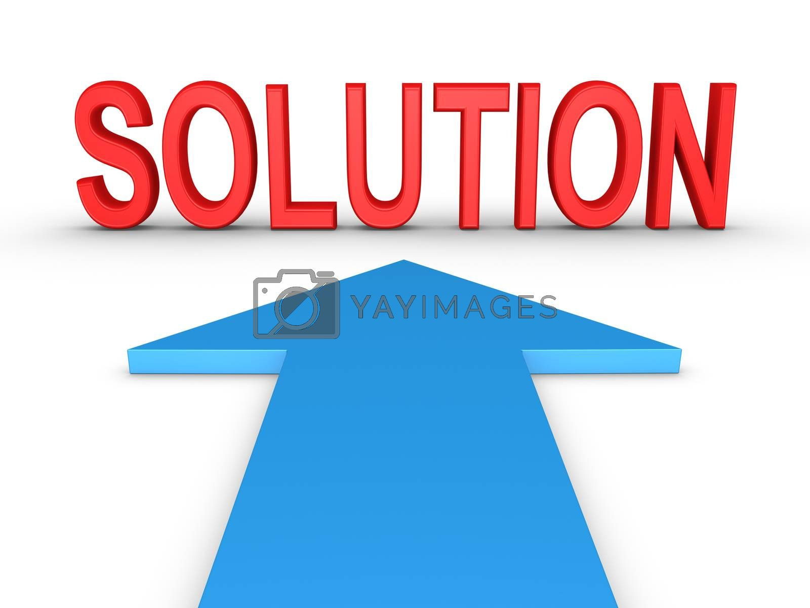 Arrow on the ground is pointing at a SOLUTION word