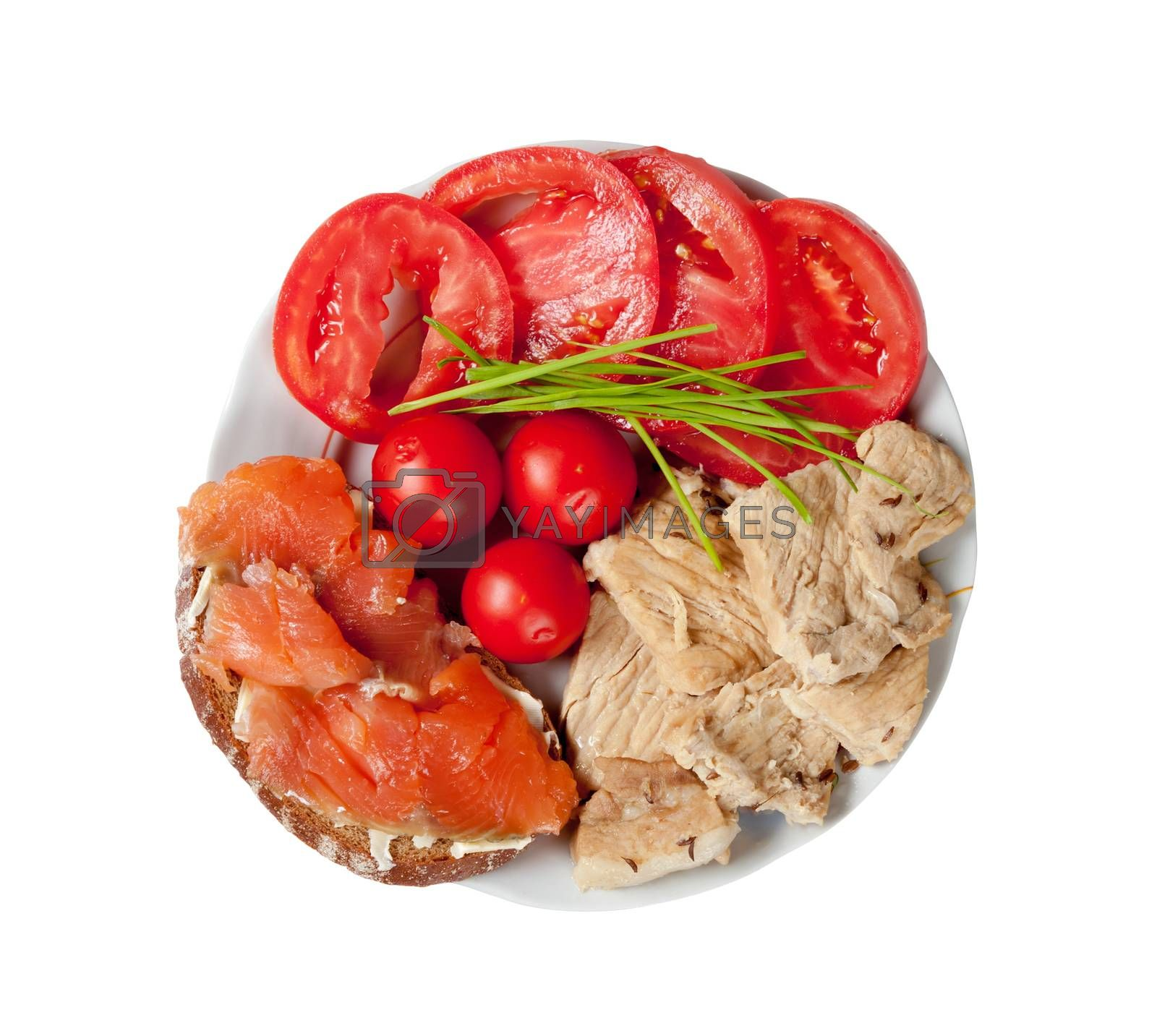Fish, meat and tomatoes, correct balanced meal for athletes. Isolated on white