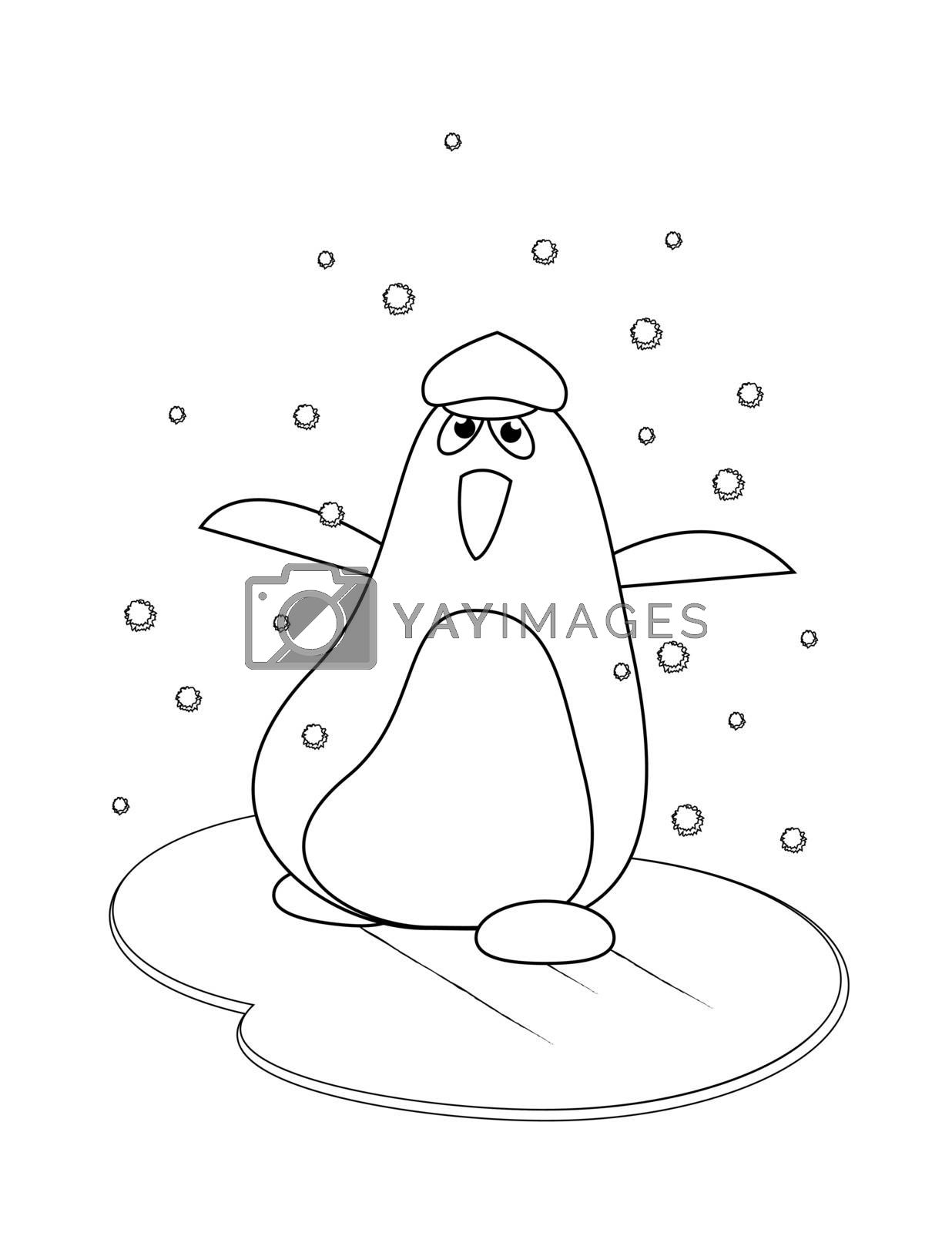 coloring with happiness penguin in winter on the ice