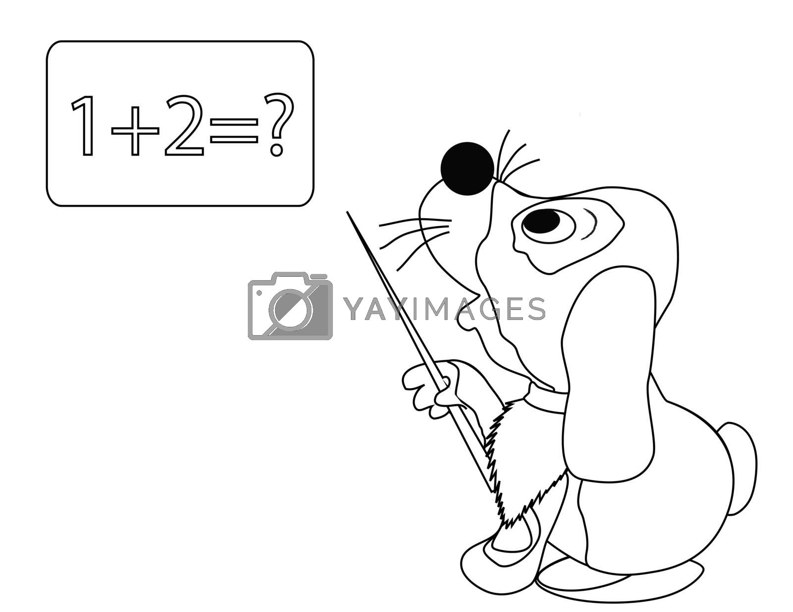 coloring with dog with pointer in the school
