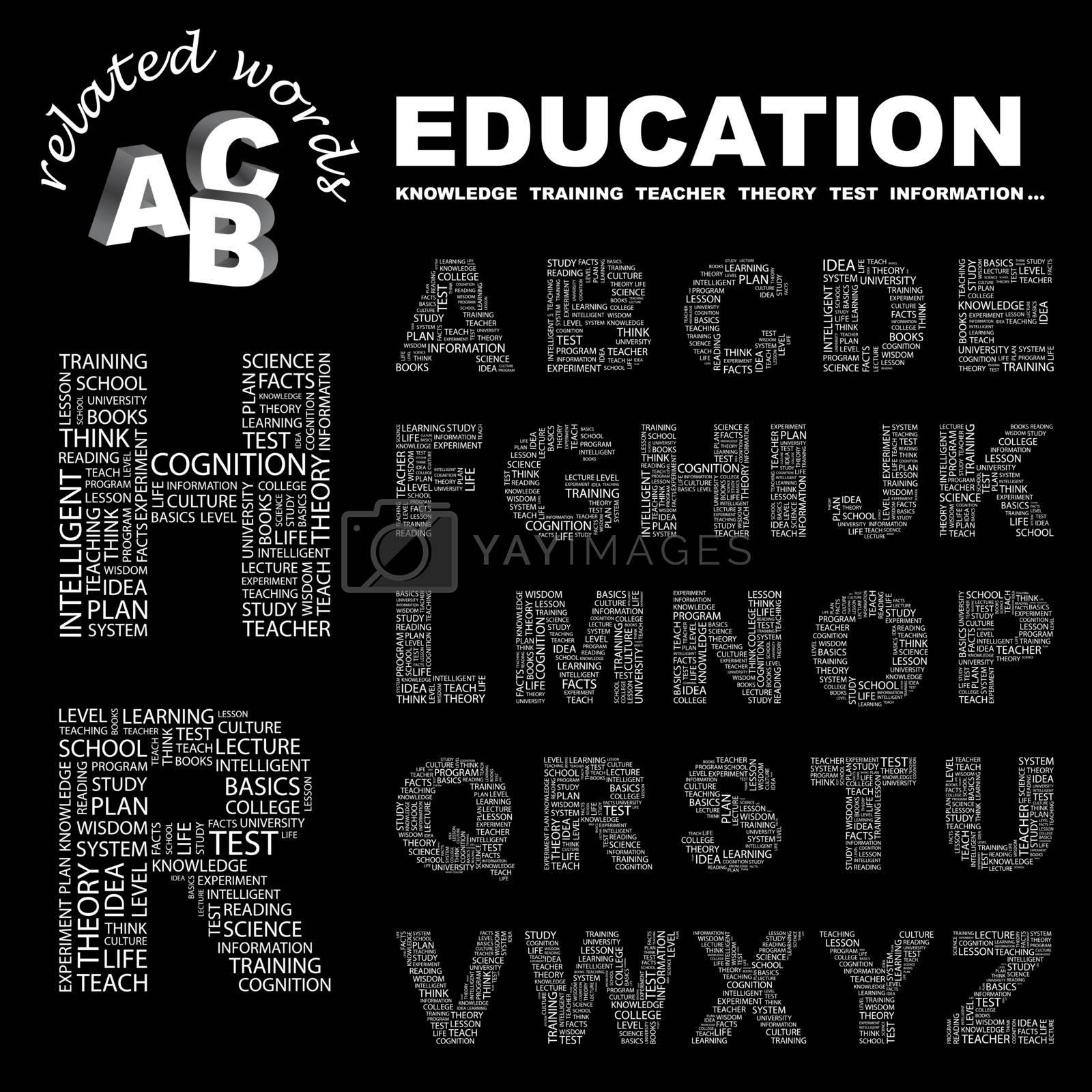 EDUCATION. ABC. Word cloud concept illustration. Print concept collage.