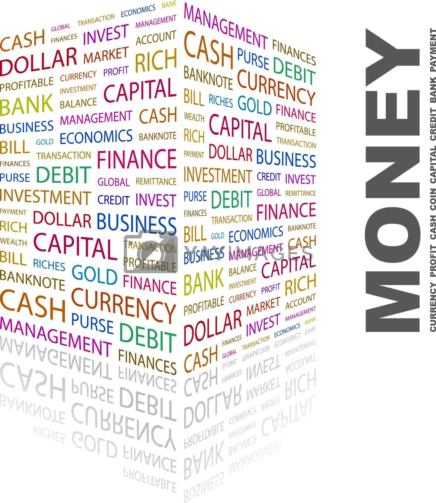MONEY. Word cloud illustration. Tag cloud concept collage.
