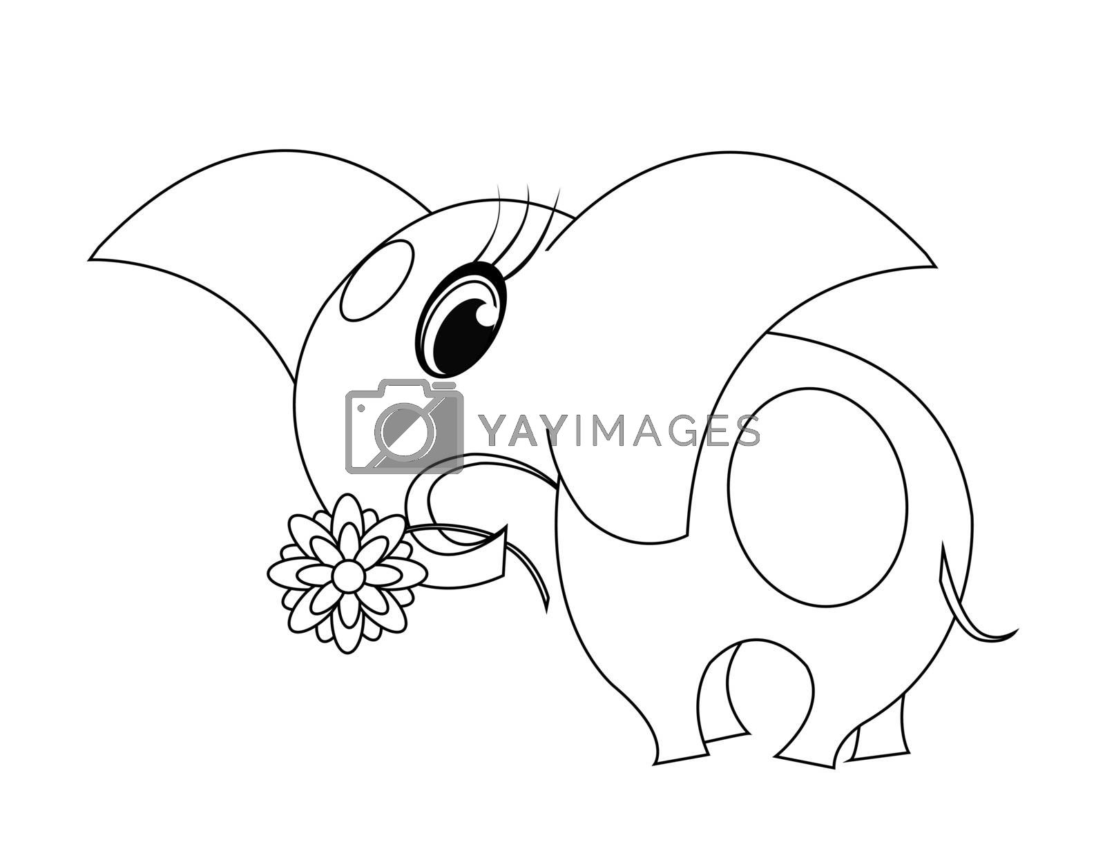 coloring with big elephant with big flower