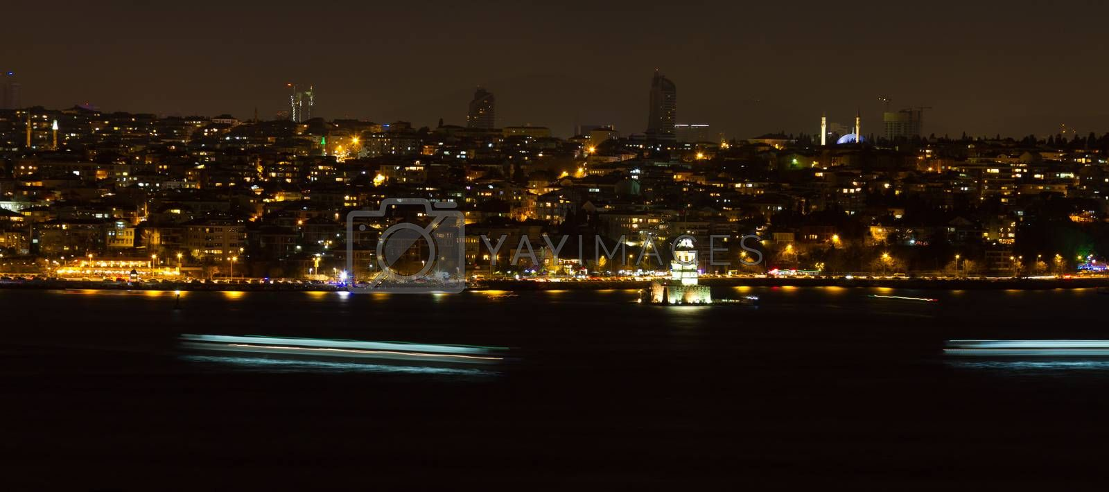 Maidens Tower and Istanbul Cityscape