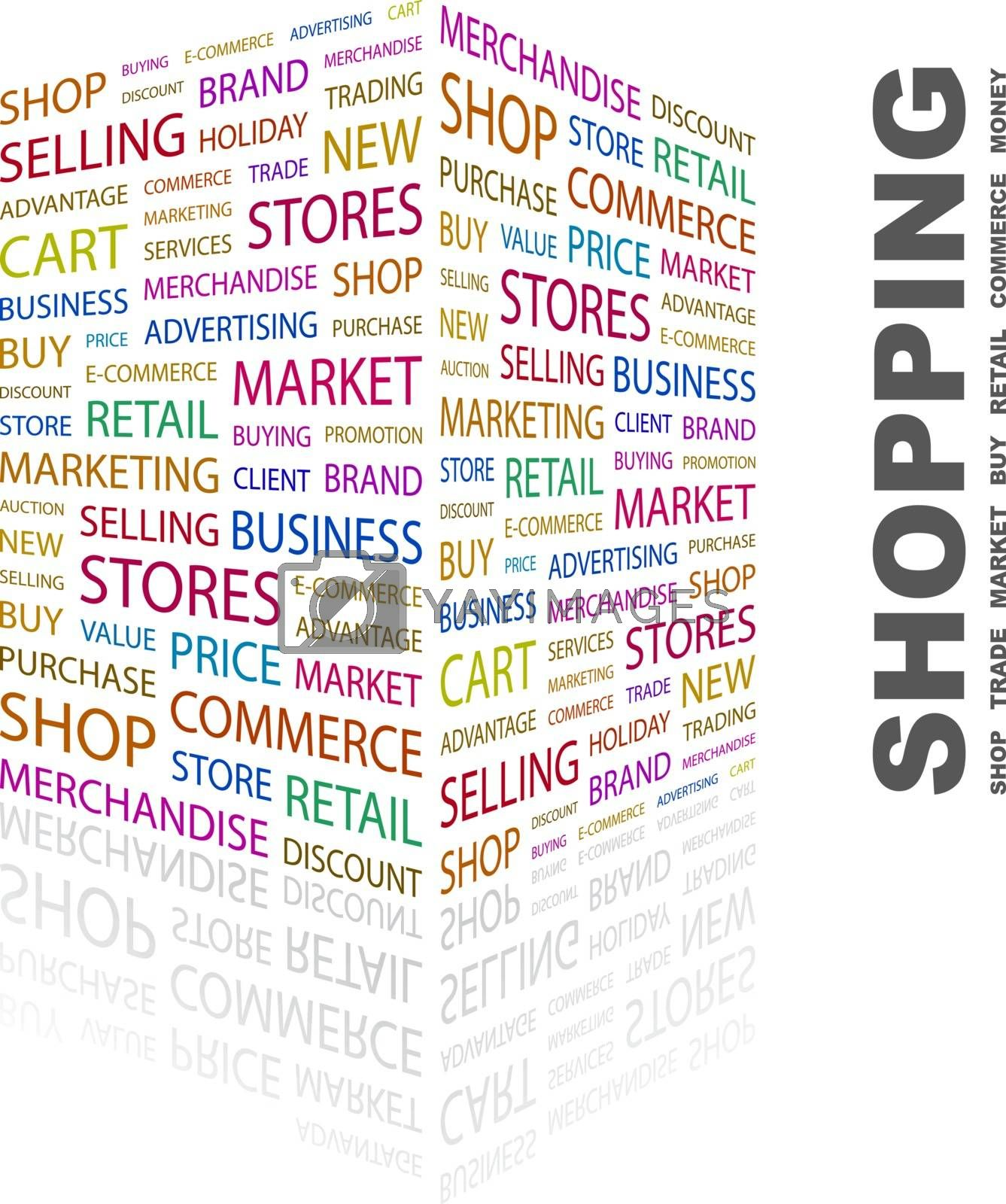 SHOPPING. Word cloud concept illustration. Wordcloud collage.
