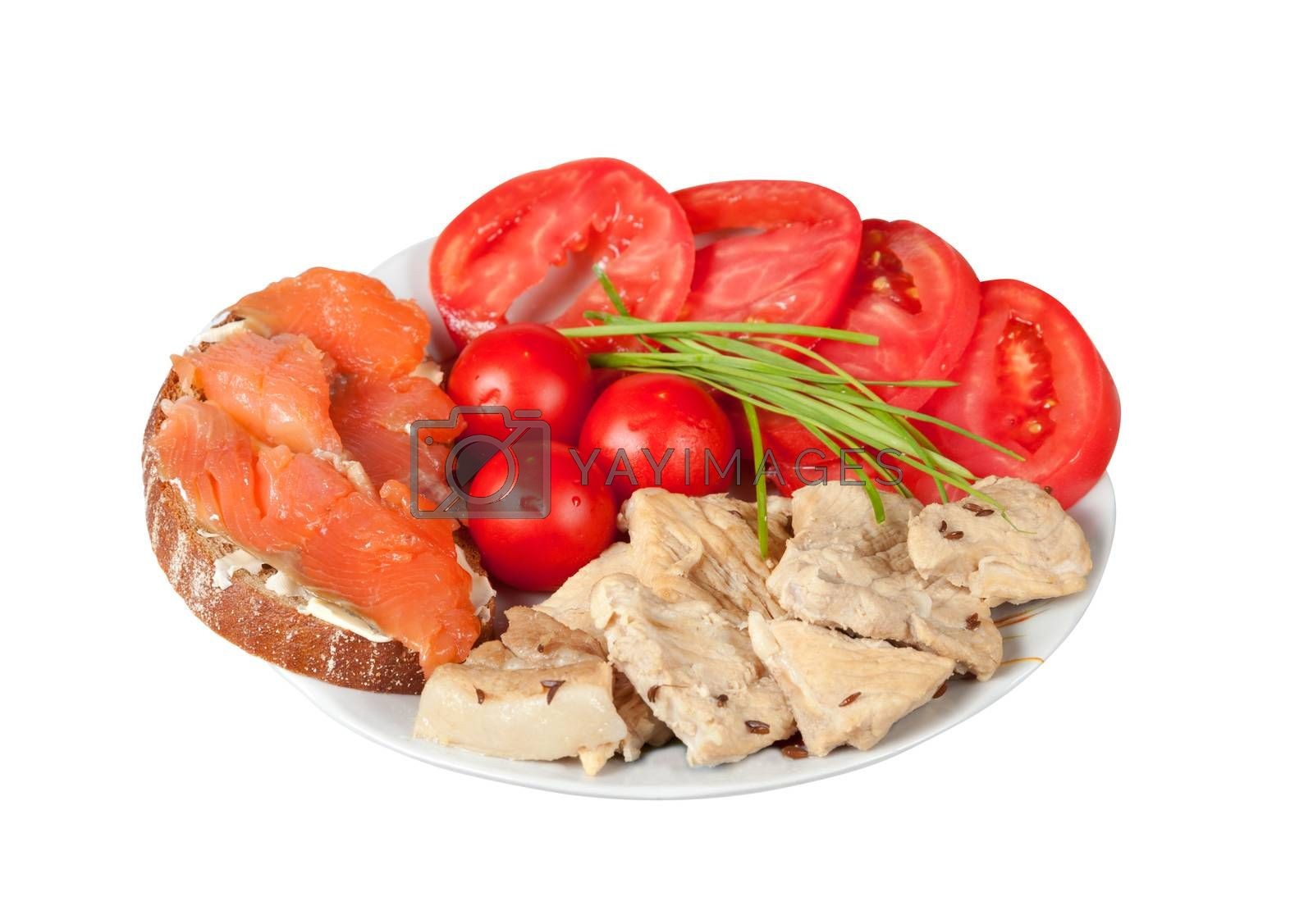 Fish, meat and tomatoes, correct balanced meal for athletes. Isolated on white. side view