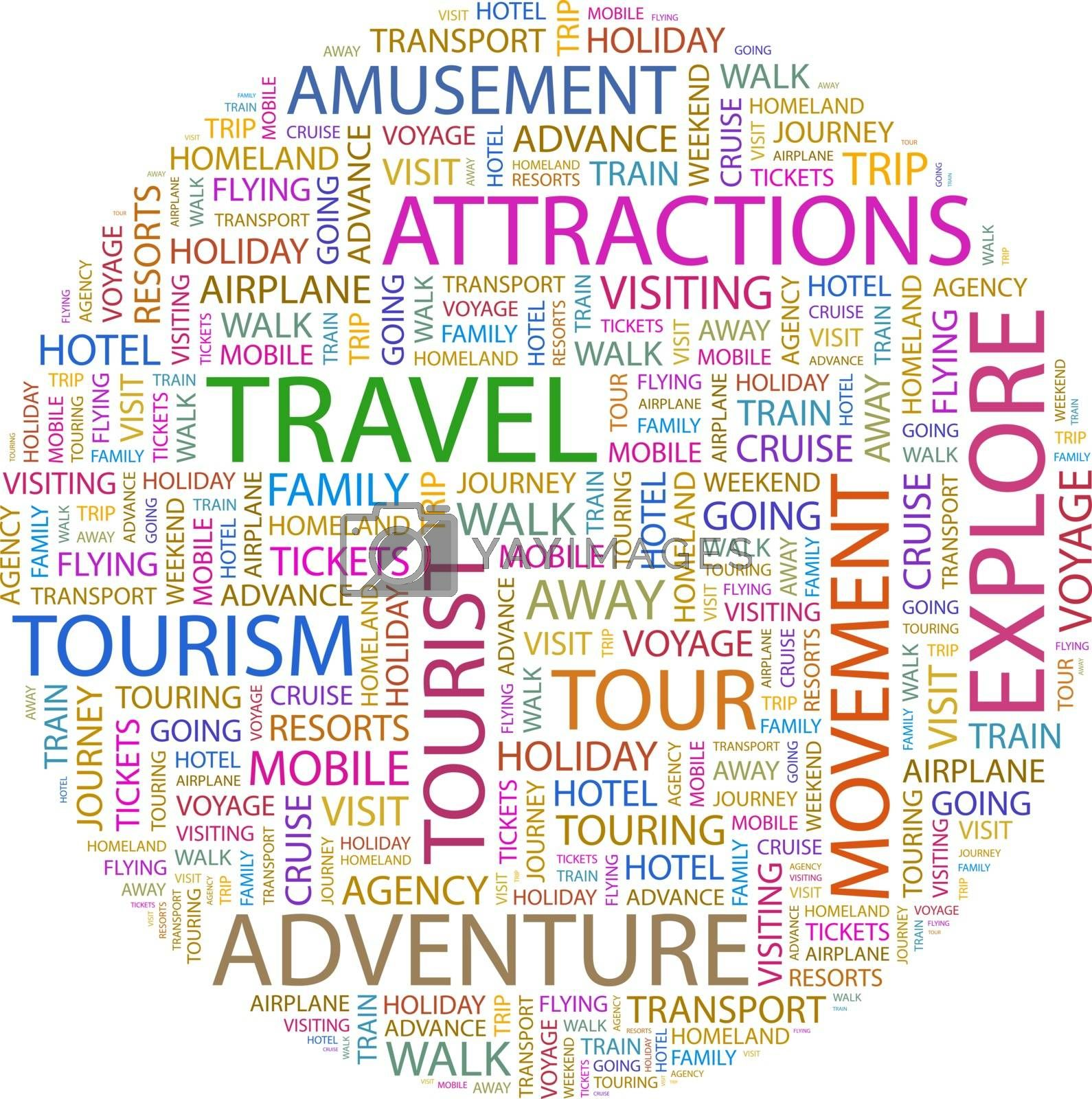 TRAVEL. Word cloud concept illustration. Wordcloud collage.