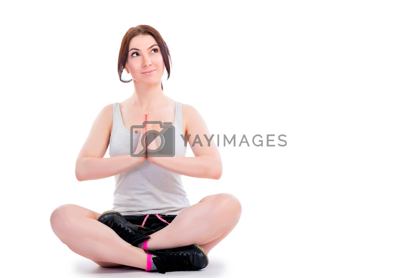 hobby beautiful girl yoga. Shooting in the studio