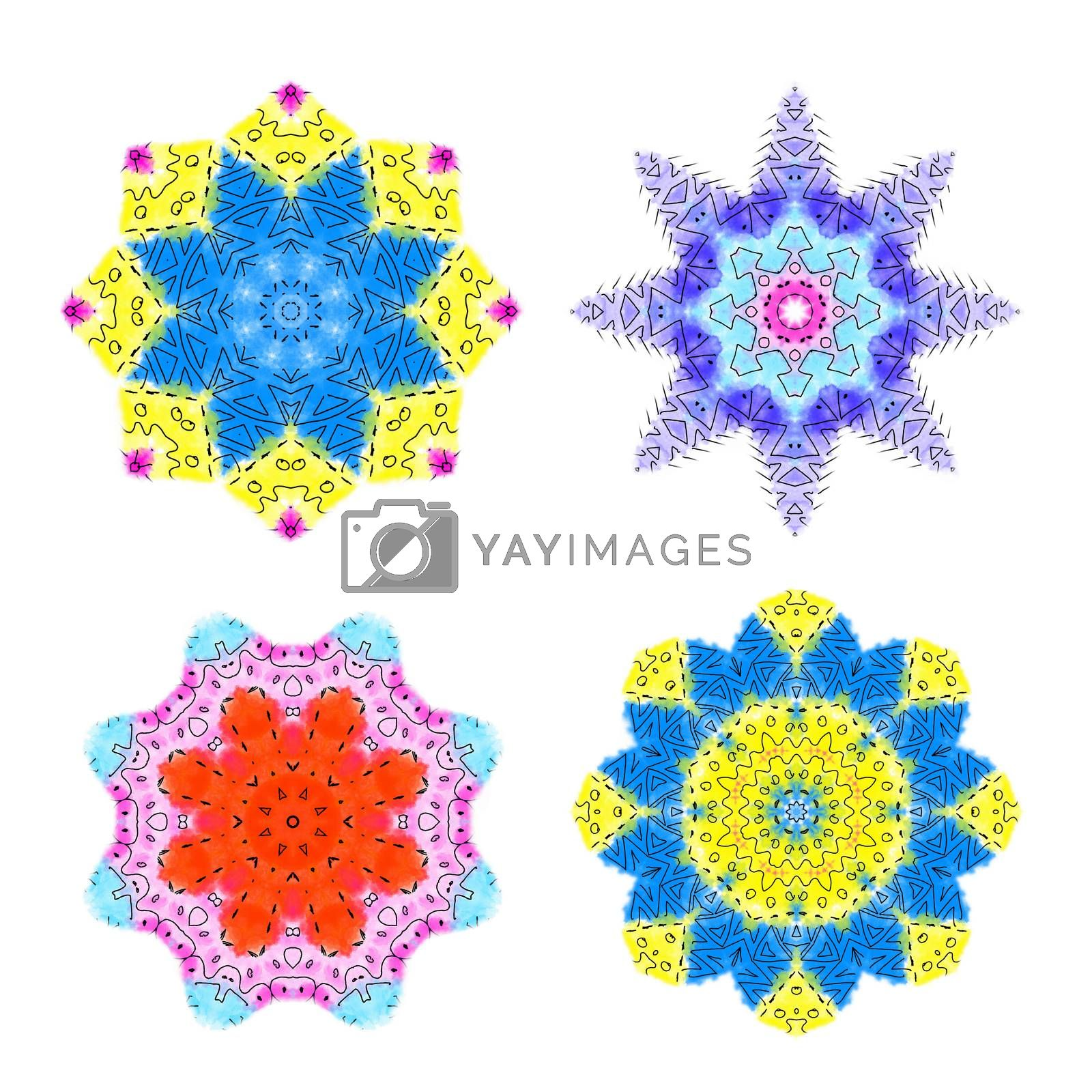 Set of abstract color shapes on white background